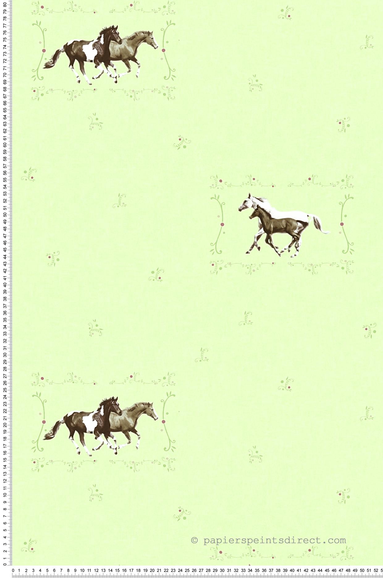 Papier peint chevaux au galop fond vert pistache - Little ...