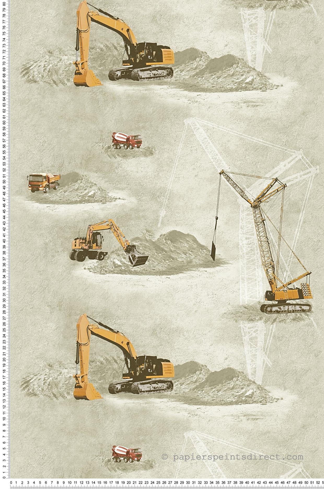 Papier peint chantier marron-beige et orange - Little Stars AS Création | Réf. SP04391