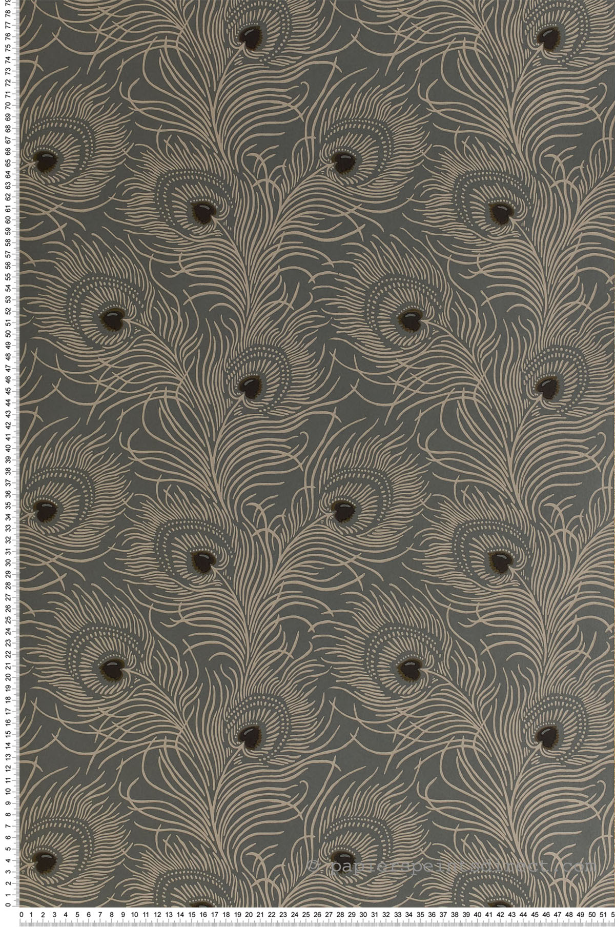 Papier peint Carlton House Terrace Slate - Collection London Wallpapers V de Little Greene