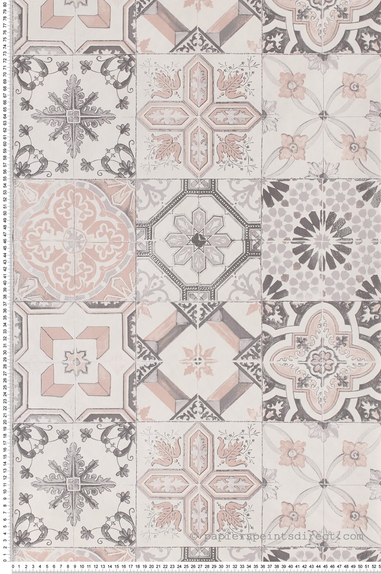 Tapisserie Carreaux De Ciment carreaux de ciment rose-gris - collection material de casélio
