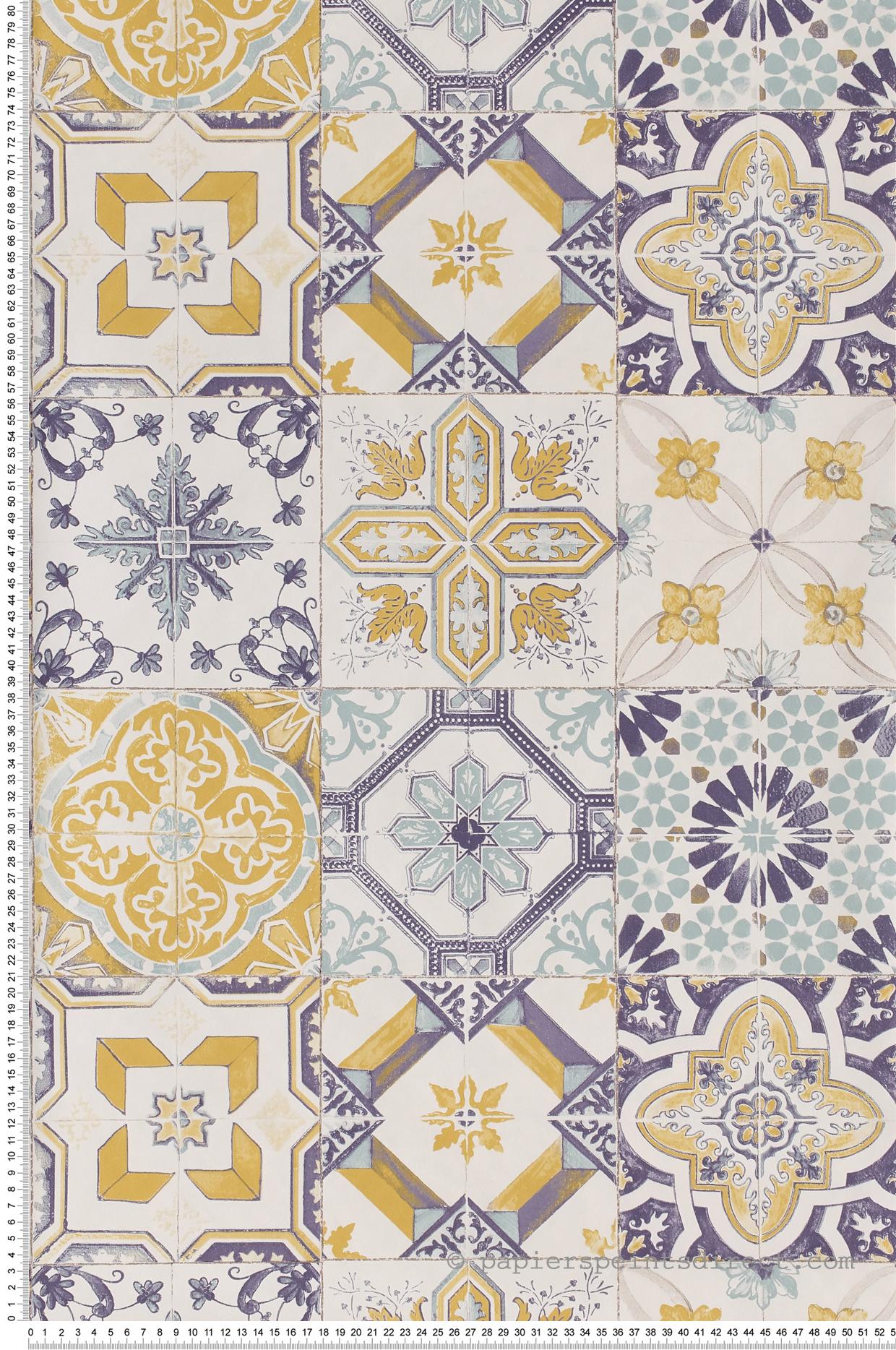 Tapisserie Carreaux De Ciment carreaux de ciment bleu-jaune - collection material de casélio