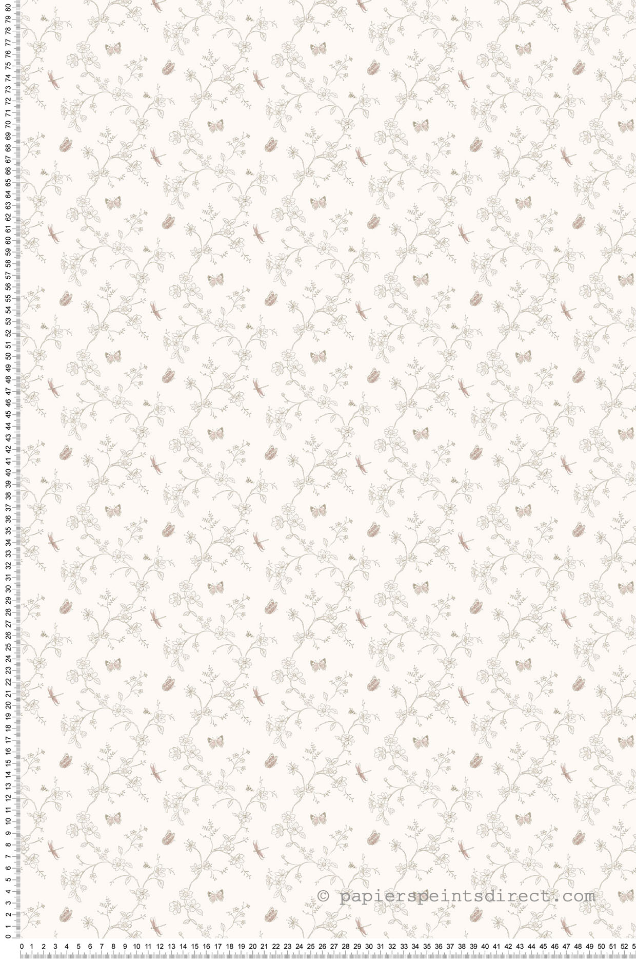 Papier peint Fleur et papillon gris - Miniatures de Lutèce | Réf. LTC-G67853