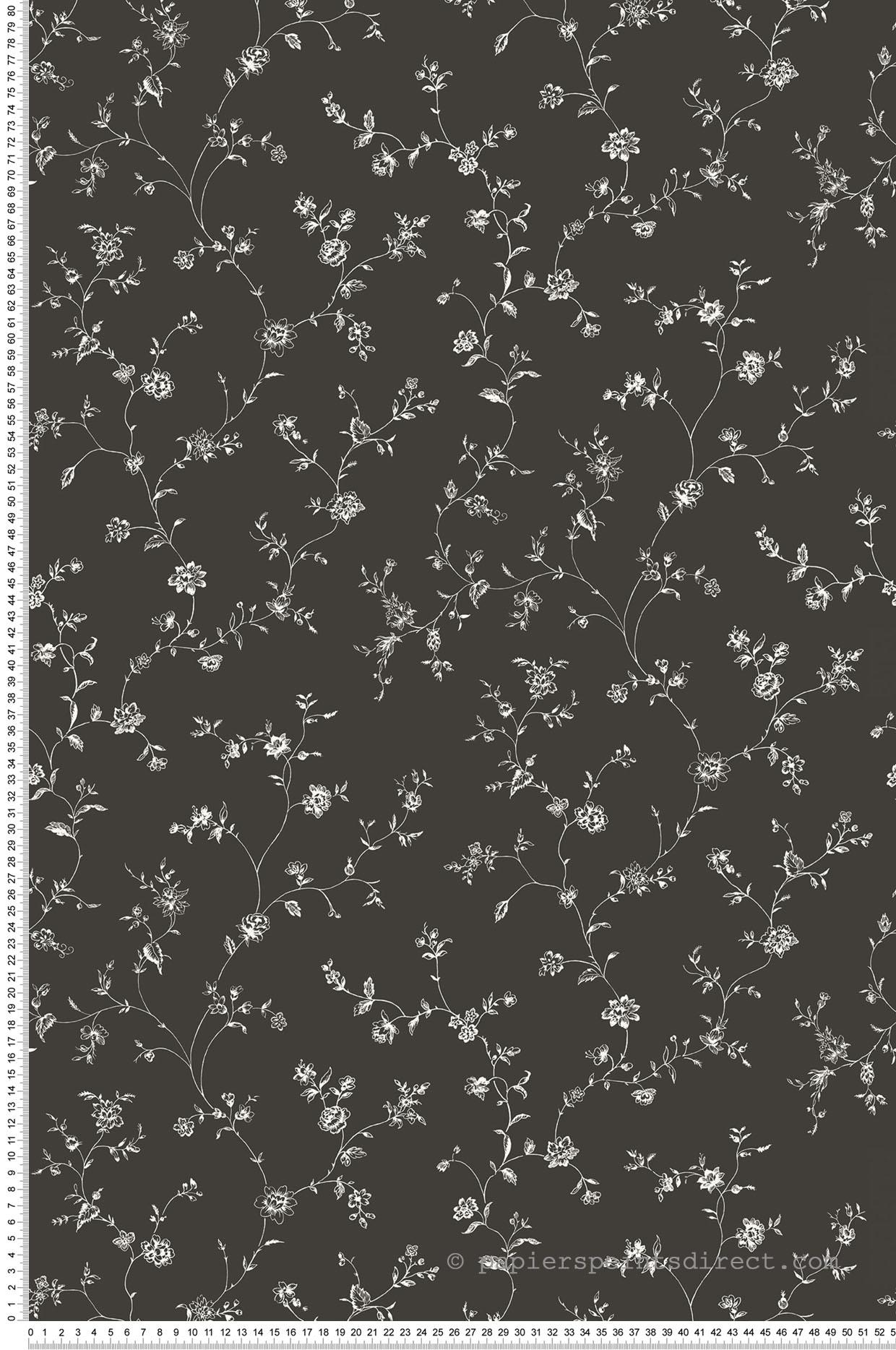 Papier peint fleurs Rosier Treille fond noir - Miniatures de Lutèce   Réf. LTC-G67861