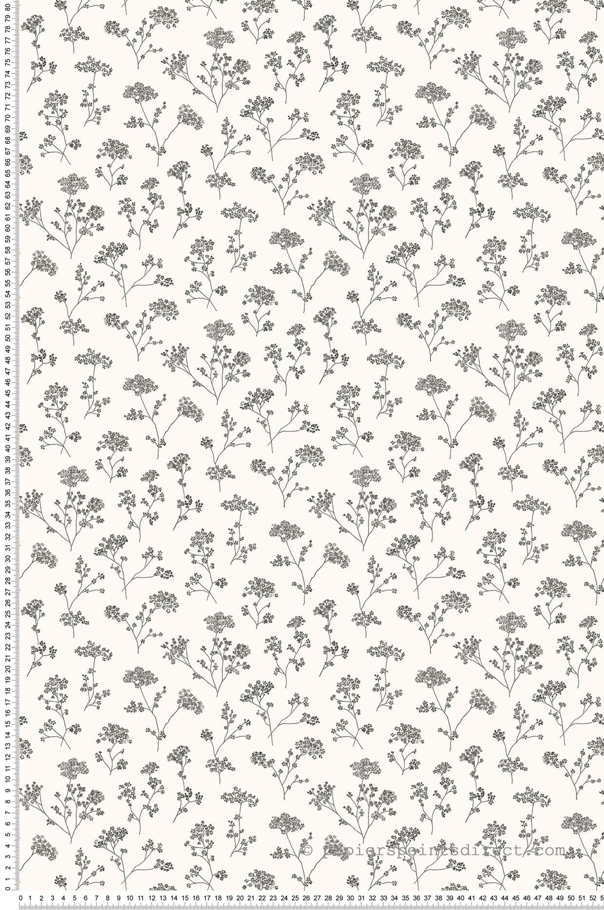 Papier peint fleuri Petite Ombelle noir et blanc - Miniatures de Lutèce | Réf. LTC-G67870