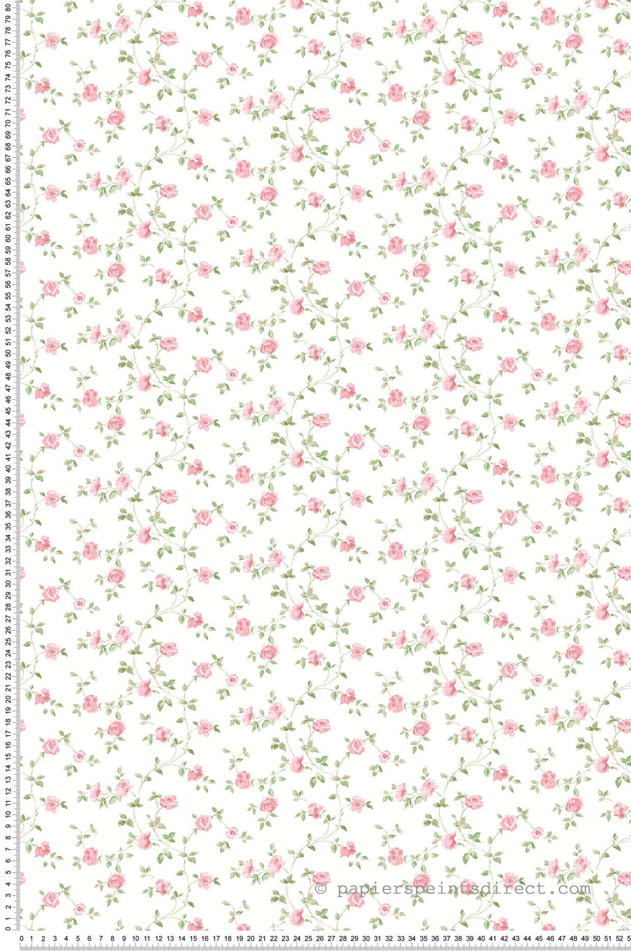 Papier peint fleurs Rosier Grimpant vert/rose - Miniatures de Lutèce | Réf. LTC-G67889