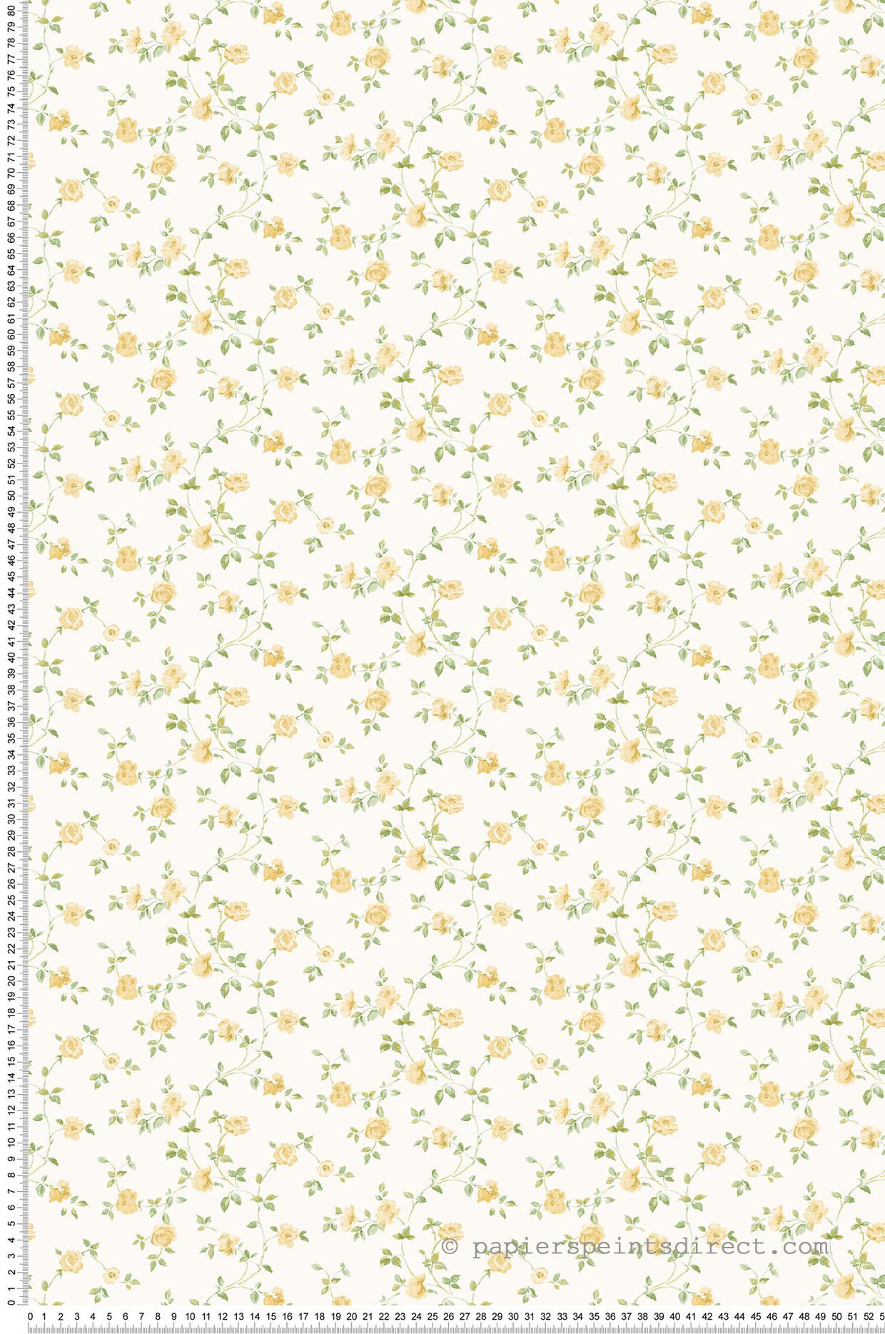 Papier peint fleurs Rosier Grimpant vert/jaune - Miniatures de Lutèce | Réf. LTC-G67891