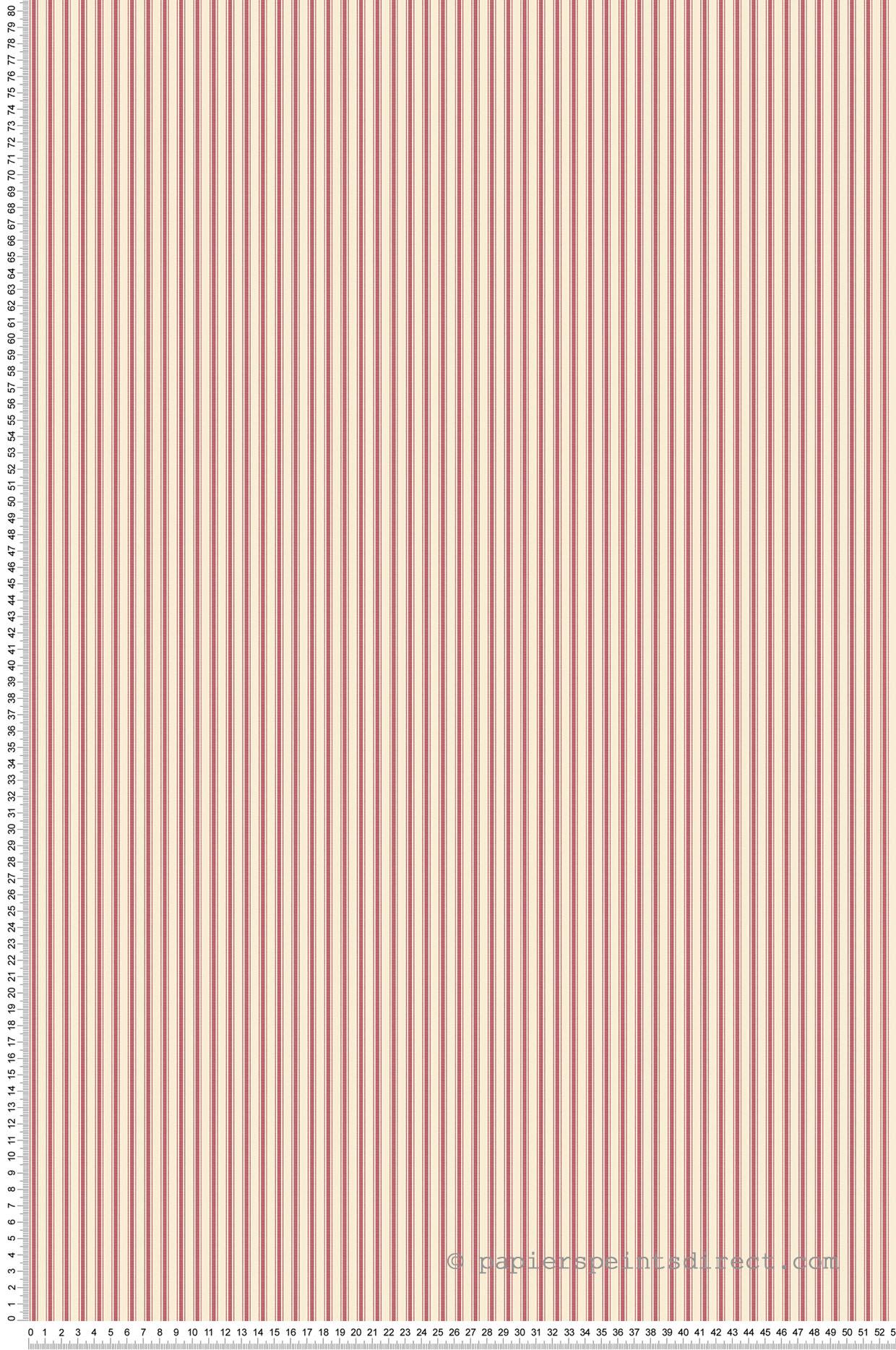 Papier peint Rayures triple rouge/écru - Miniatures de Lutèce | Réf. LTC-G67931