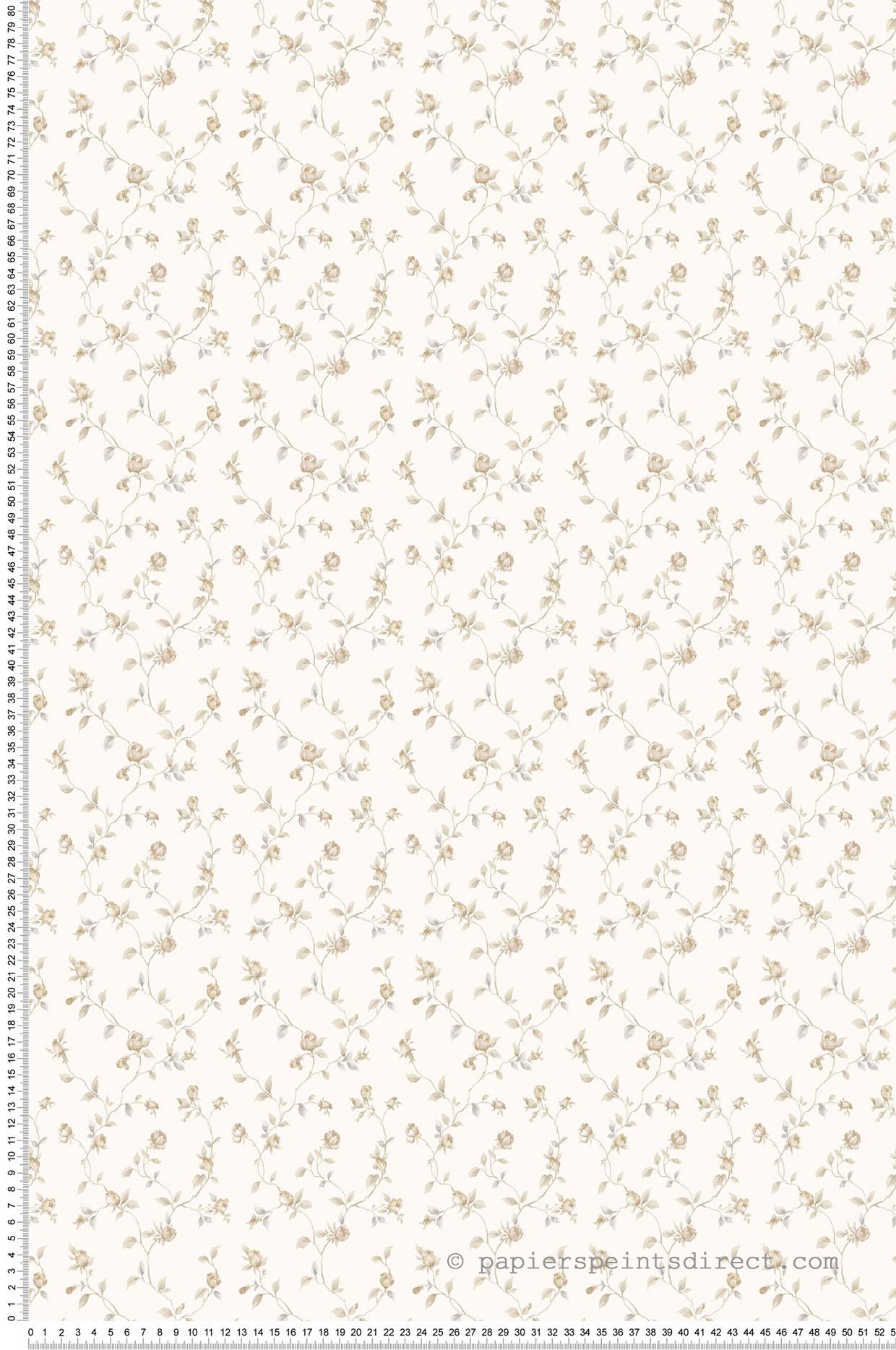 Papier peint fleurs Ramage de roses beige - Miniatures de Lutèce | Réf. LTC-G67933