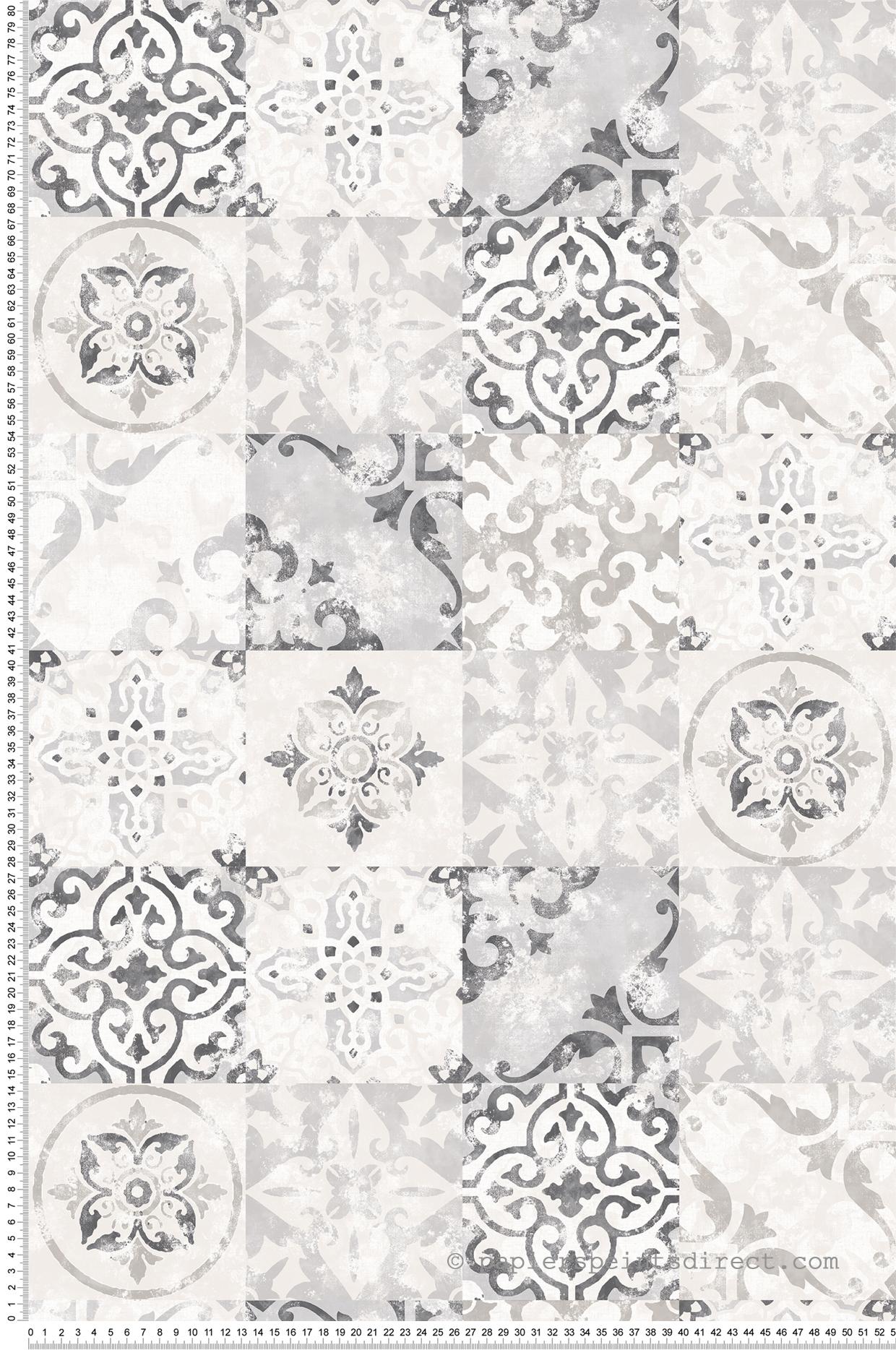 Papier Peint Pour Cuisine papier peint azulejos gris - nouvelle cuisine 5 de lutèce