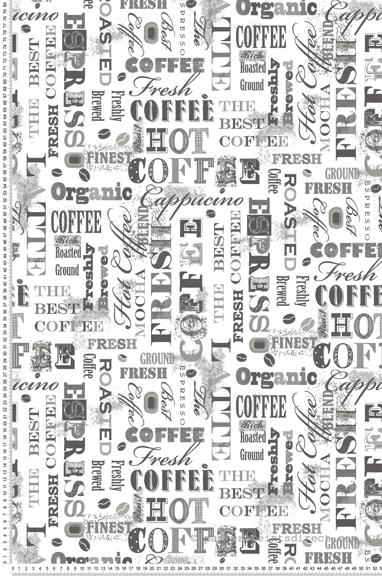 Papier Peint Pour Cuisine papier peint coffee words gris - nouvelle cuisine 5 de