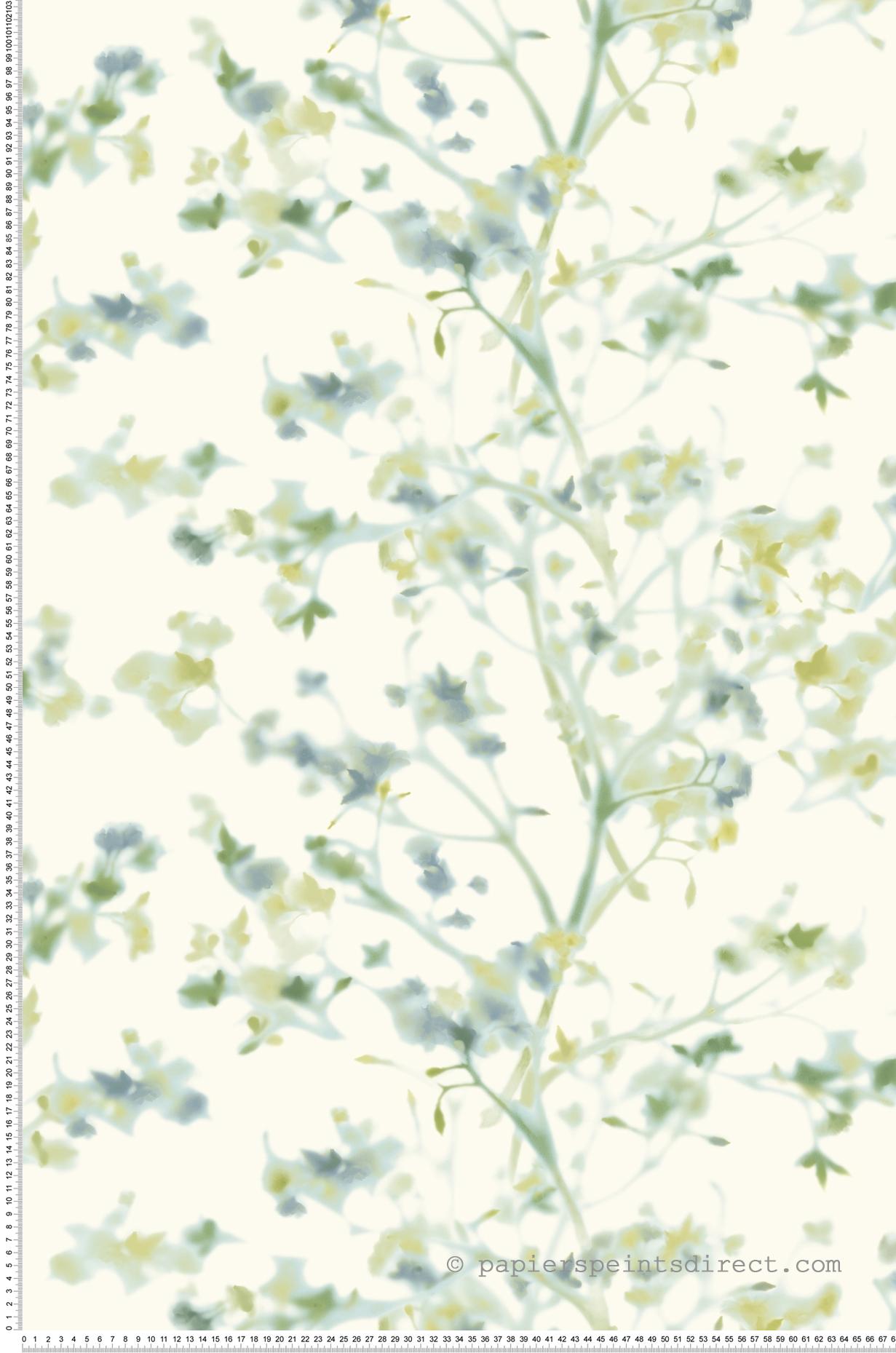 Papier peint Fleurs floues vert - Outdoors In d'Initiales | Réf. INI-ON1607