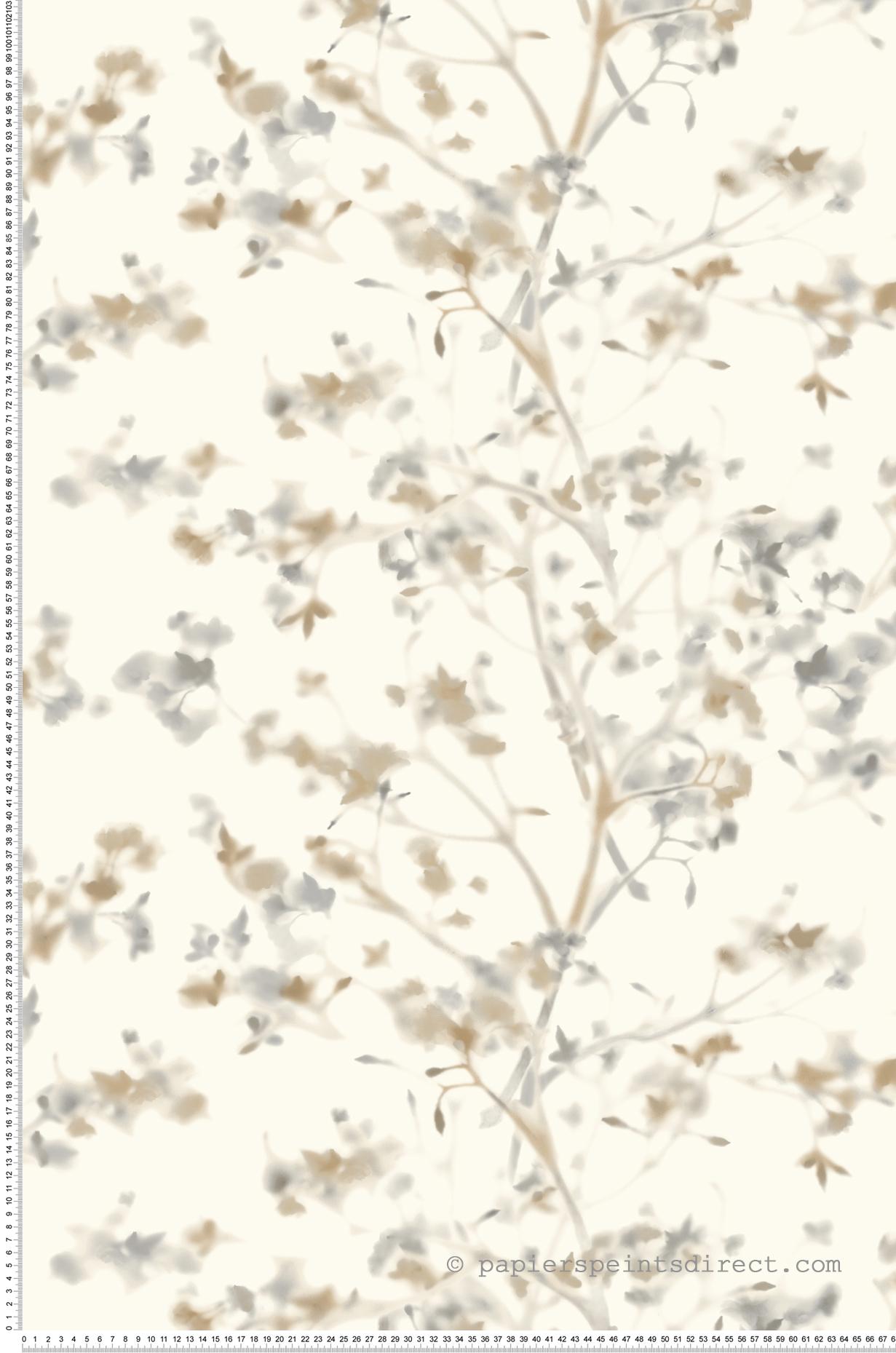 Papier peint Fleurs floues beige gris - Outdoors In d'Initiales | Réf. INI-ON1609