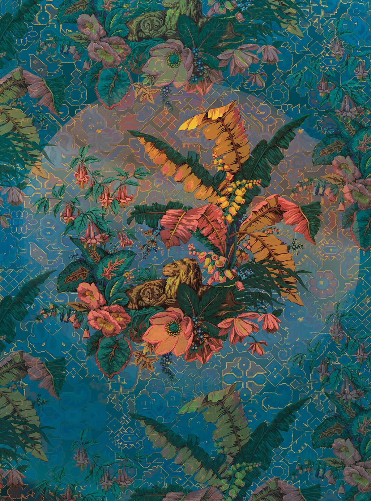 Papier peint panoramique nature Orient Bleu - Papier peint Komar Heritage