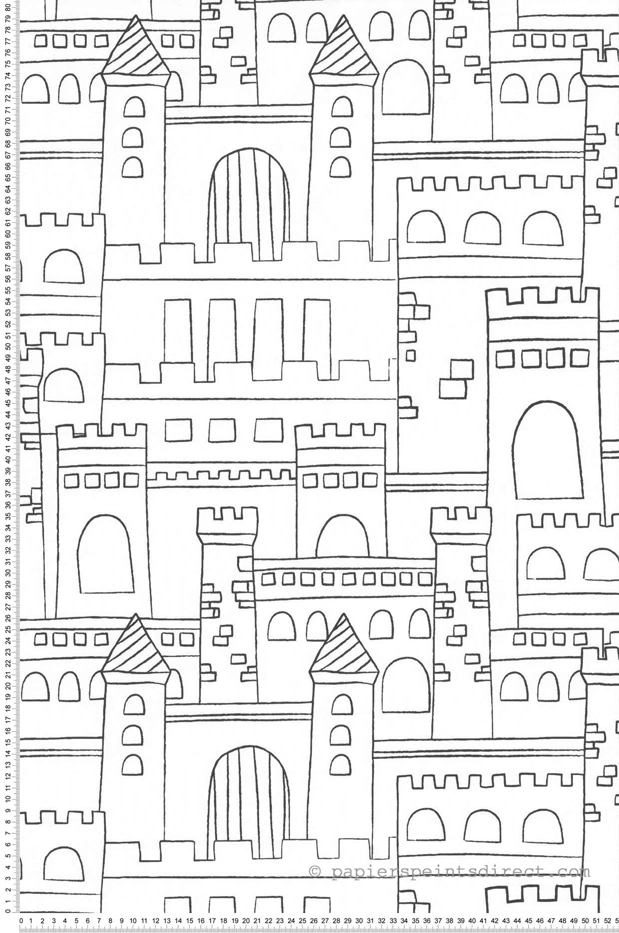 Papier Peint Château fort noir et blanc - Sélène & Gaïa de Lutèce  | Réf. LTC-11160309