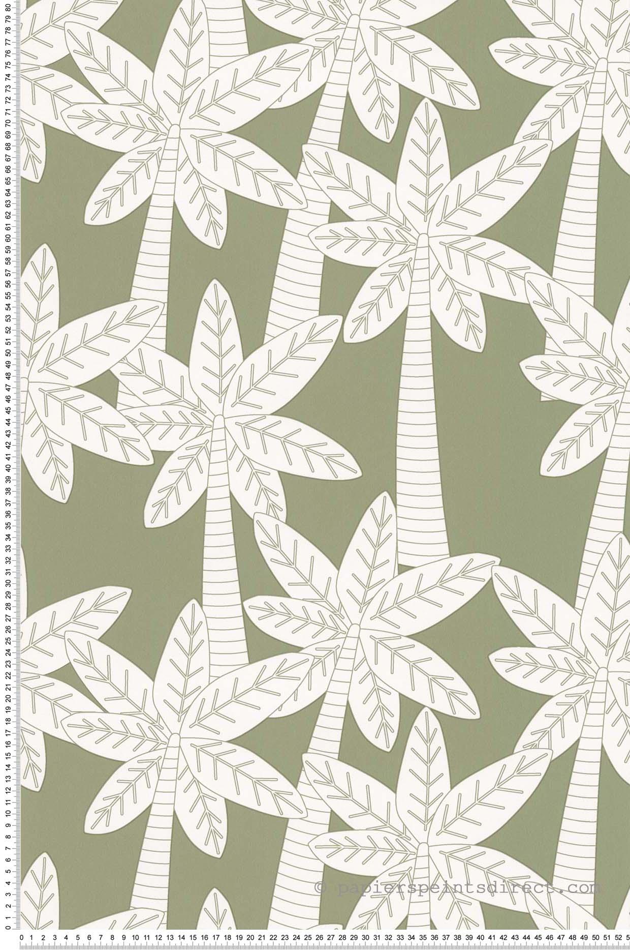 Papier Peint Palmiers fond kaki - Sélène & Gaïa de Lutèce  | Réf. LTC-11160504