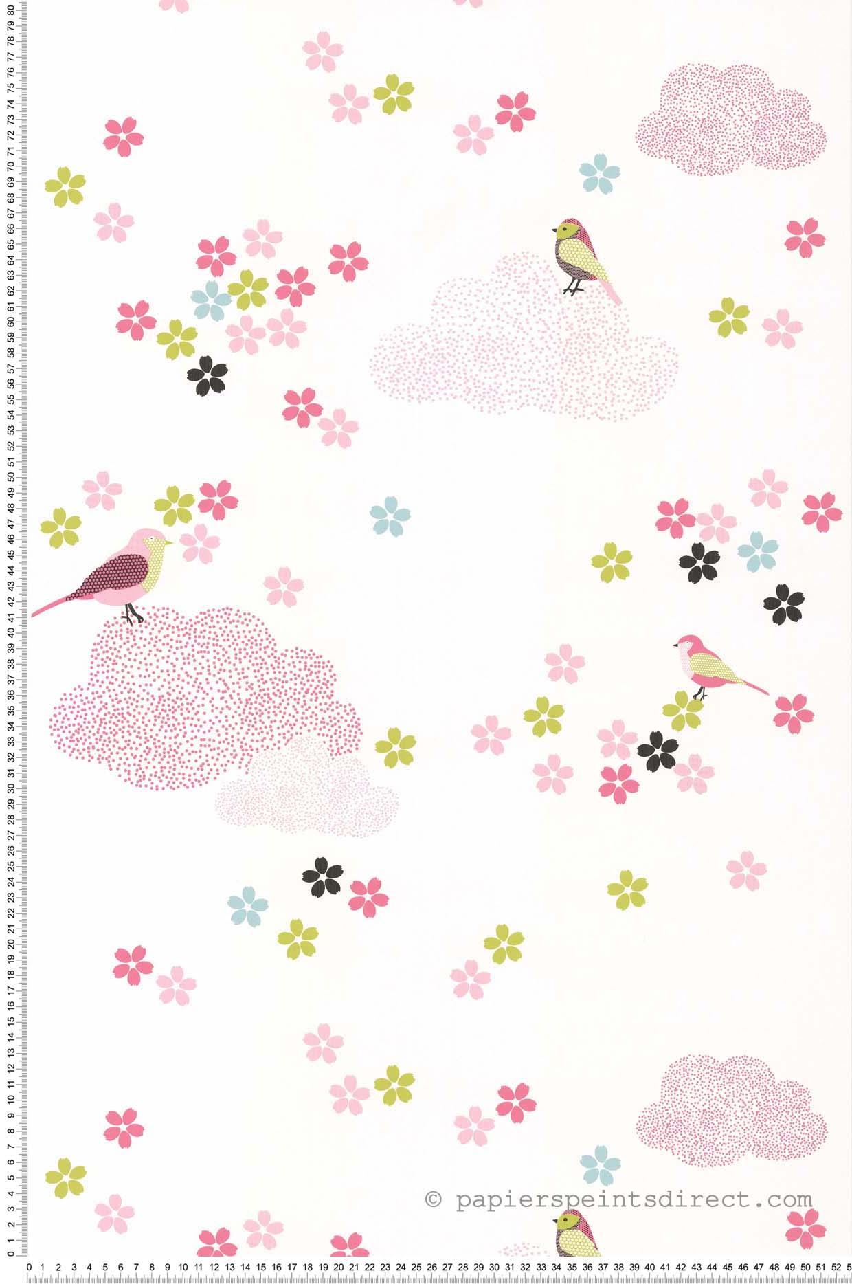 Papier Peint Printemps nuages rose - Sélène & Gaïa de Lutèce    Réf. LTC-36160603