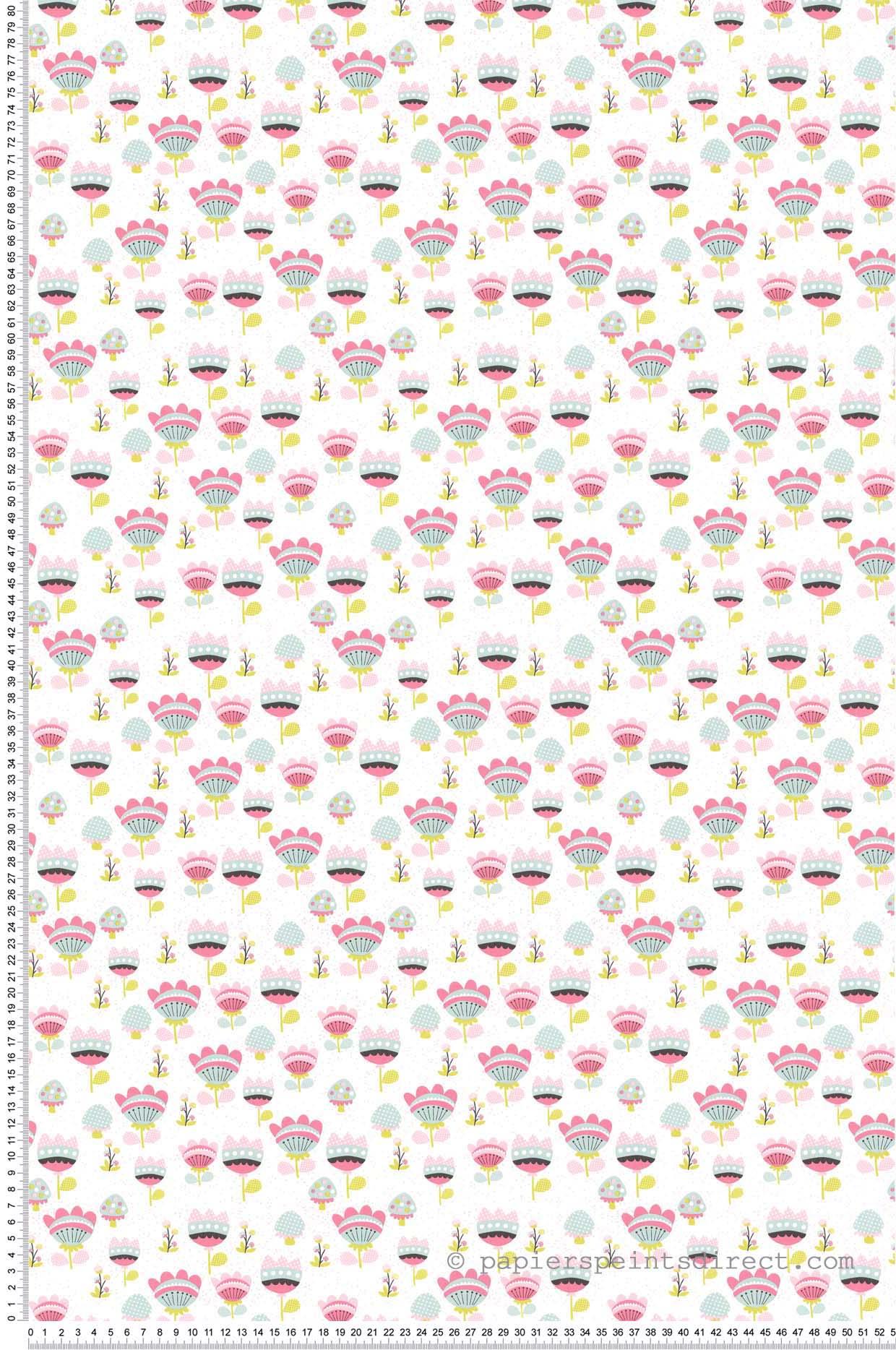 Papier Peint Fleurs enchantées rose - Sélène & Gaïa de Lutèce    Réf. LTC-36160703