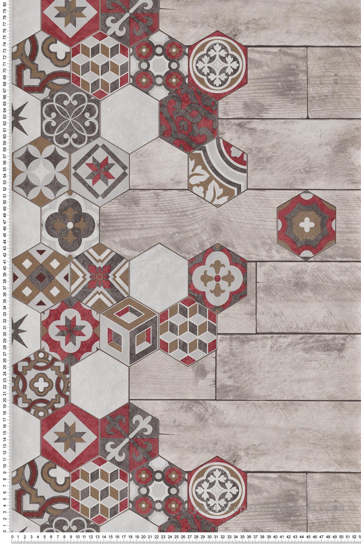 Tapisserie Carreaux De Ciment papier peint carreaux de ciment bois rouge doré - reflets d