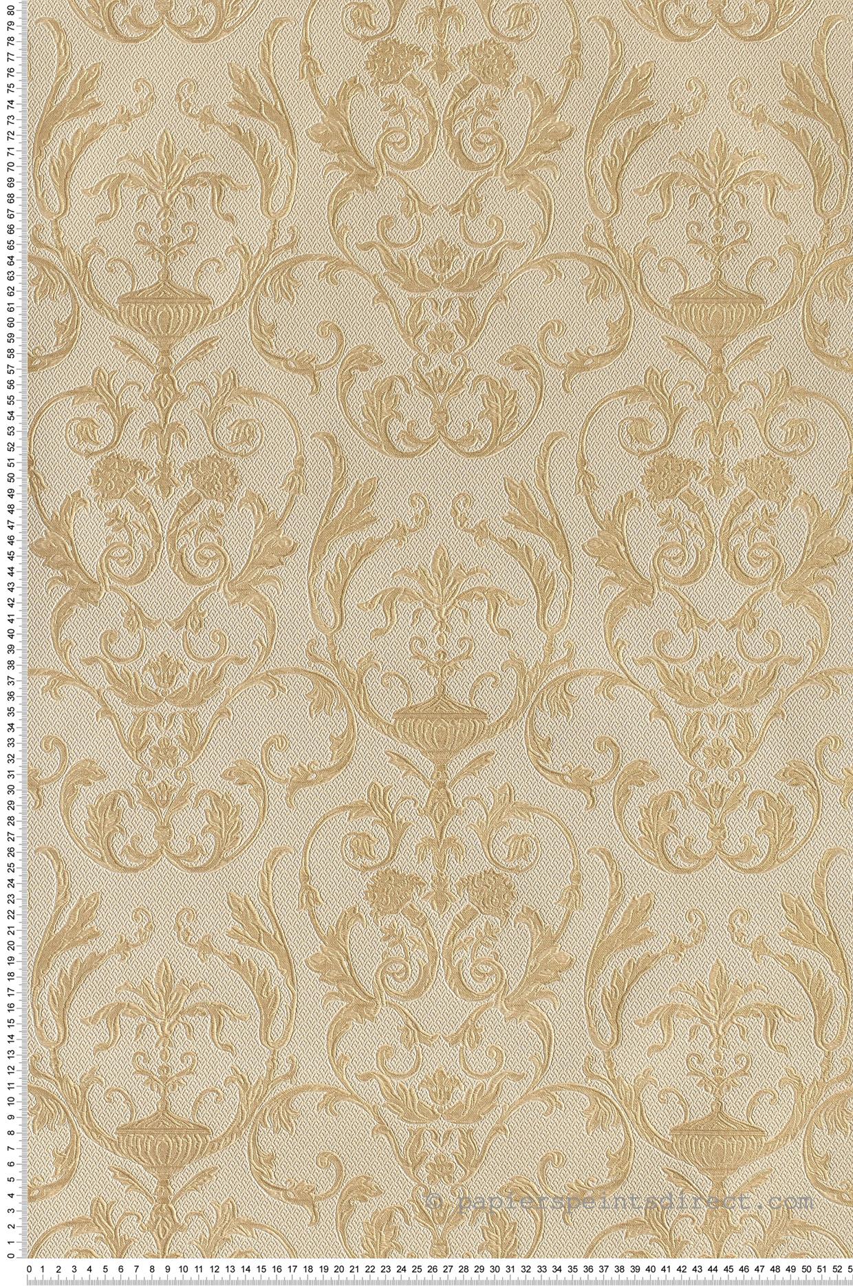 Papier Gaufré À Peindre damask gaufré beige- or - collection saint pétersbourg de