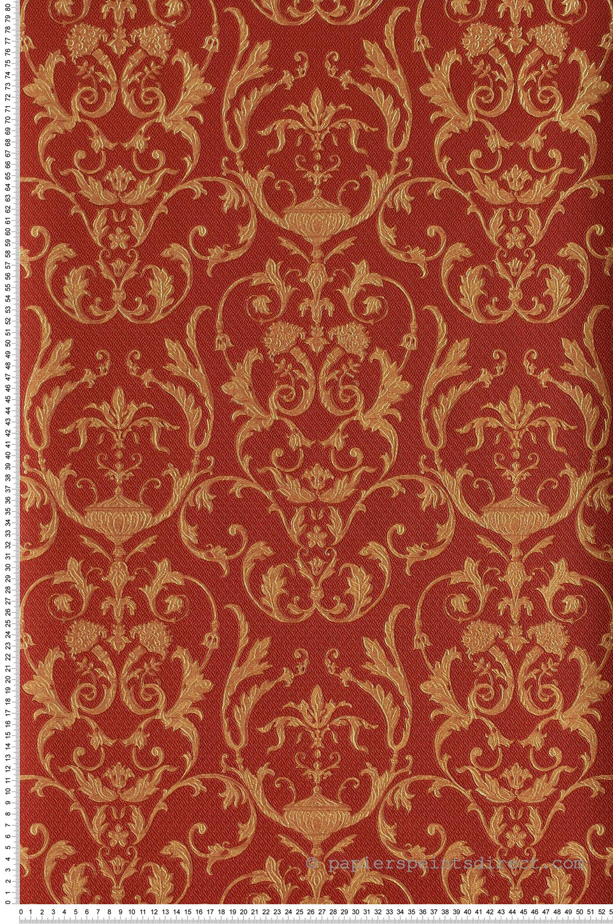 Papier Gaufré À Peindre damask gaufré rouge- or - collection saint pétersbourg de