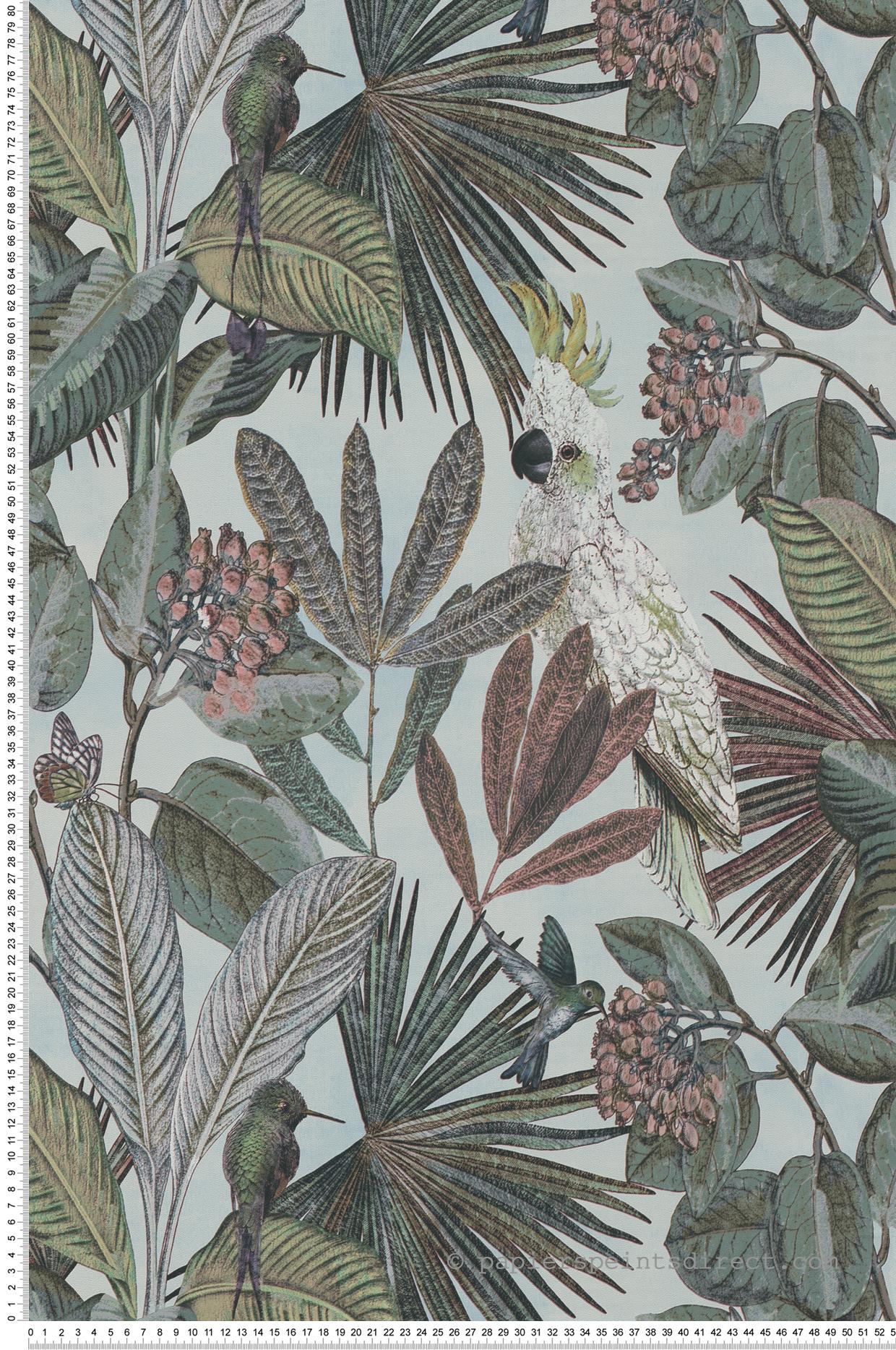 Papier peint Oiseaux tropicaux bleu clair - Savana de Lutèce | Réf. LTC-SAV122