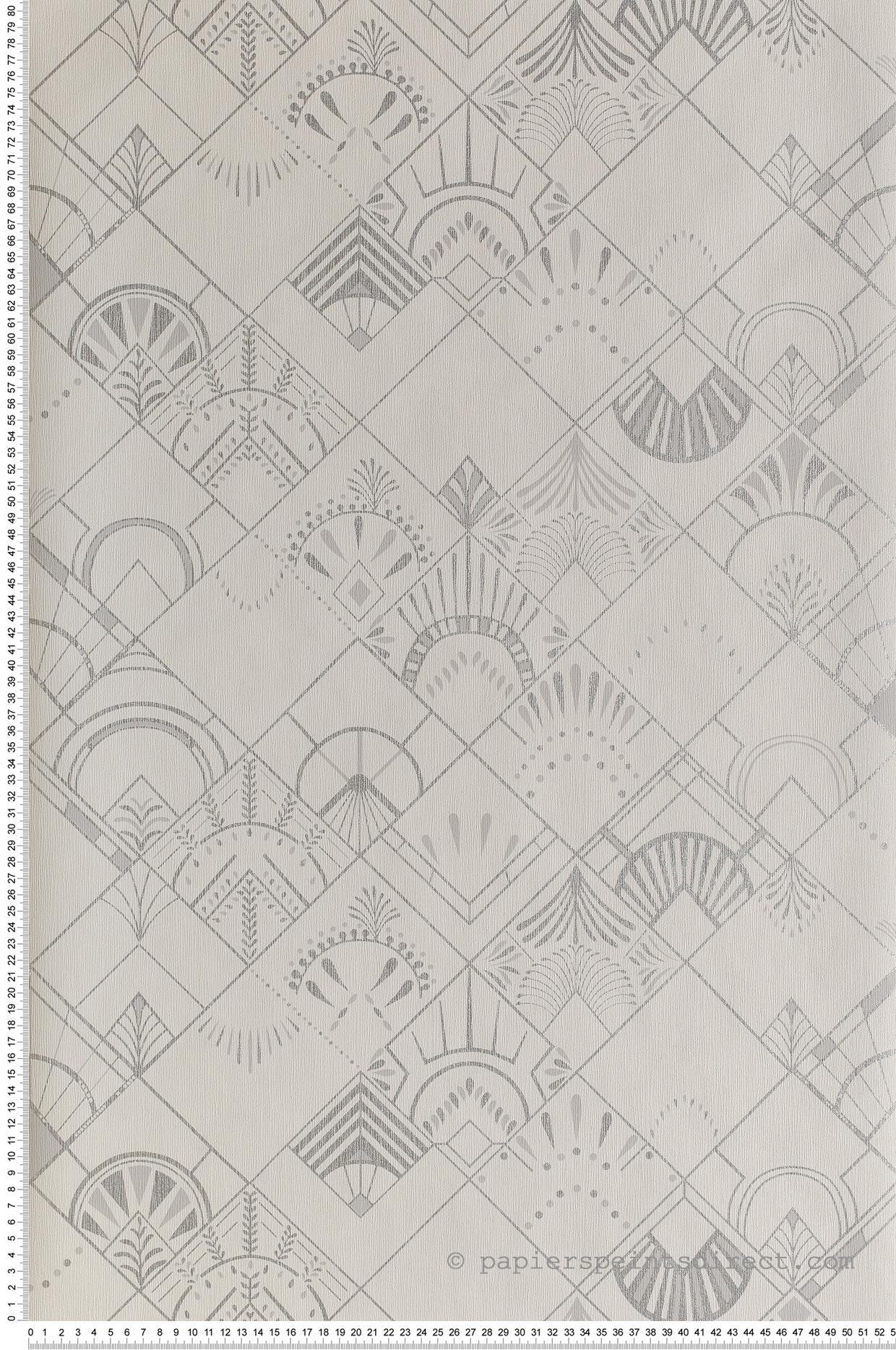 Papier Peint Art Deco Blanc papier peint art déco golden years blanc/argenté - scarlett