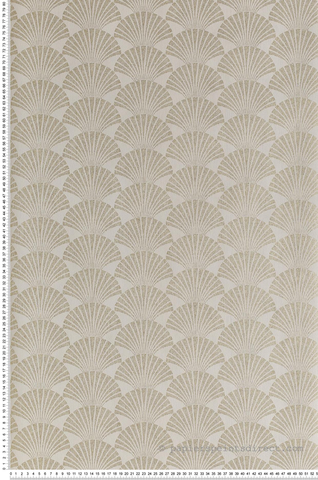 Papier Peint Art Deco Blanc papier peint art déco palm pearl blanc/or - scarlett de casélio