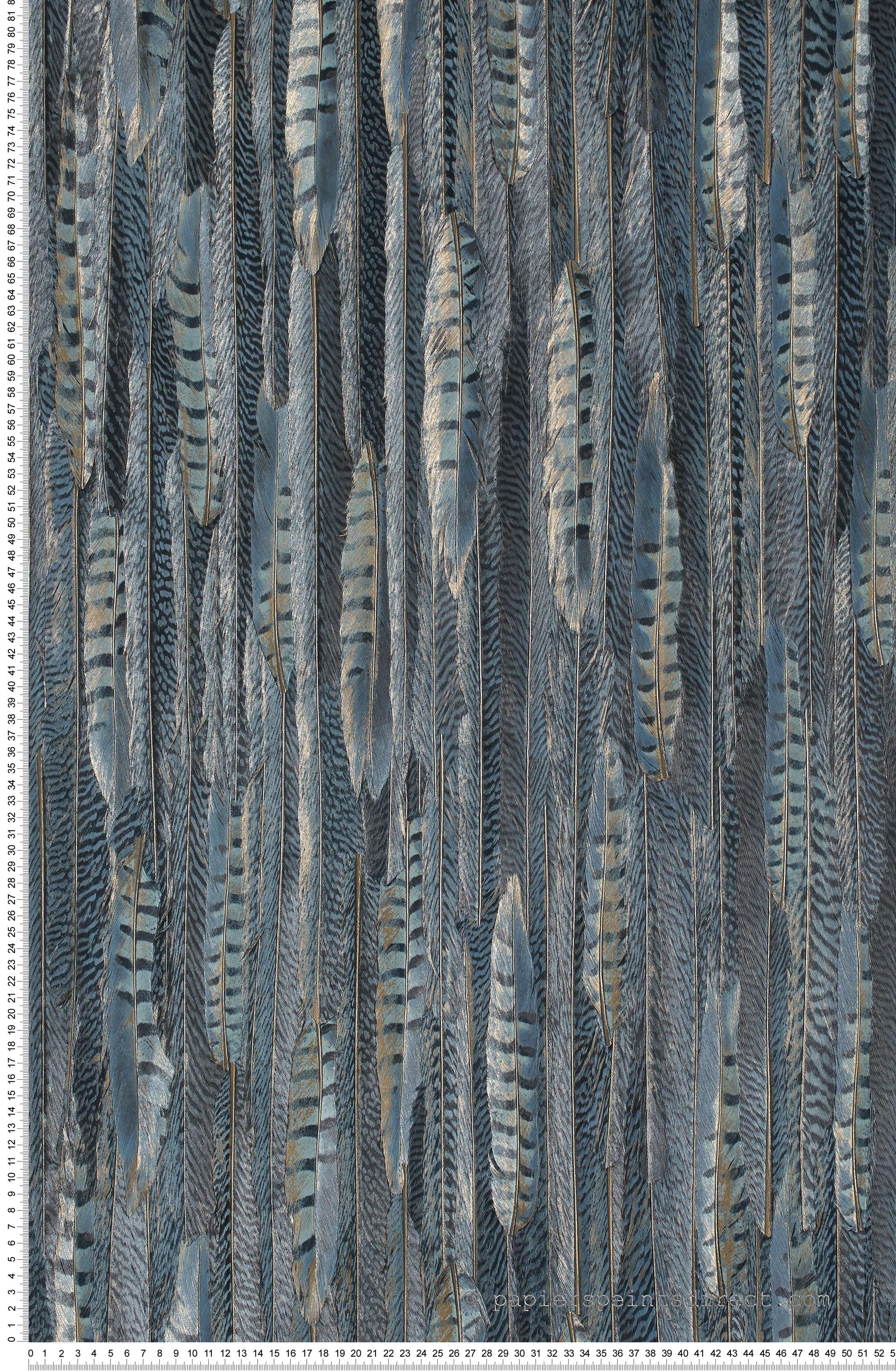 Frise Murale Damier Noir Et Blanc plumes bleu paon - collection shaman de montécolino