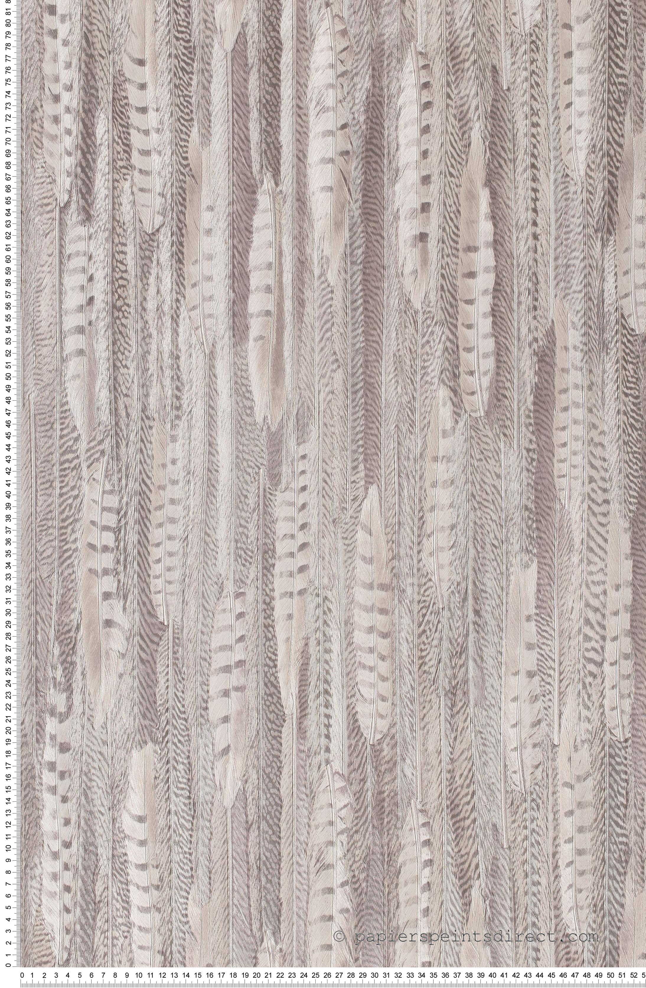 Frise Murale Damier Noir Et Blanc plumes gris mauve - collection shaman de montécolino