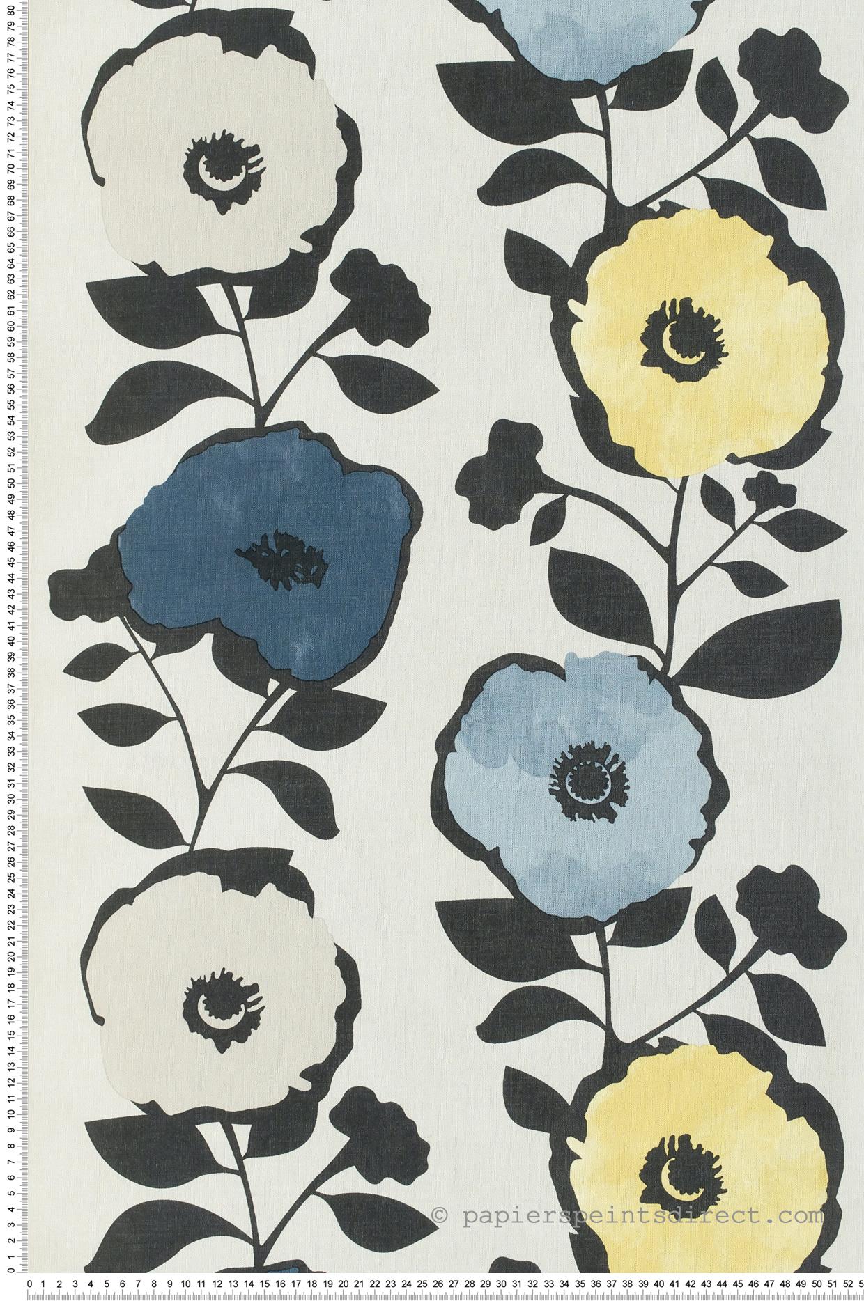 Papier peint Fleurs vintage jaune/bleu - Skandinavia 2 de Lutèce   Réf. LTC-51183702