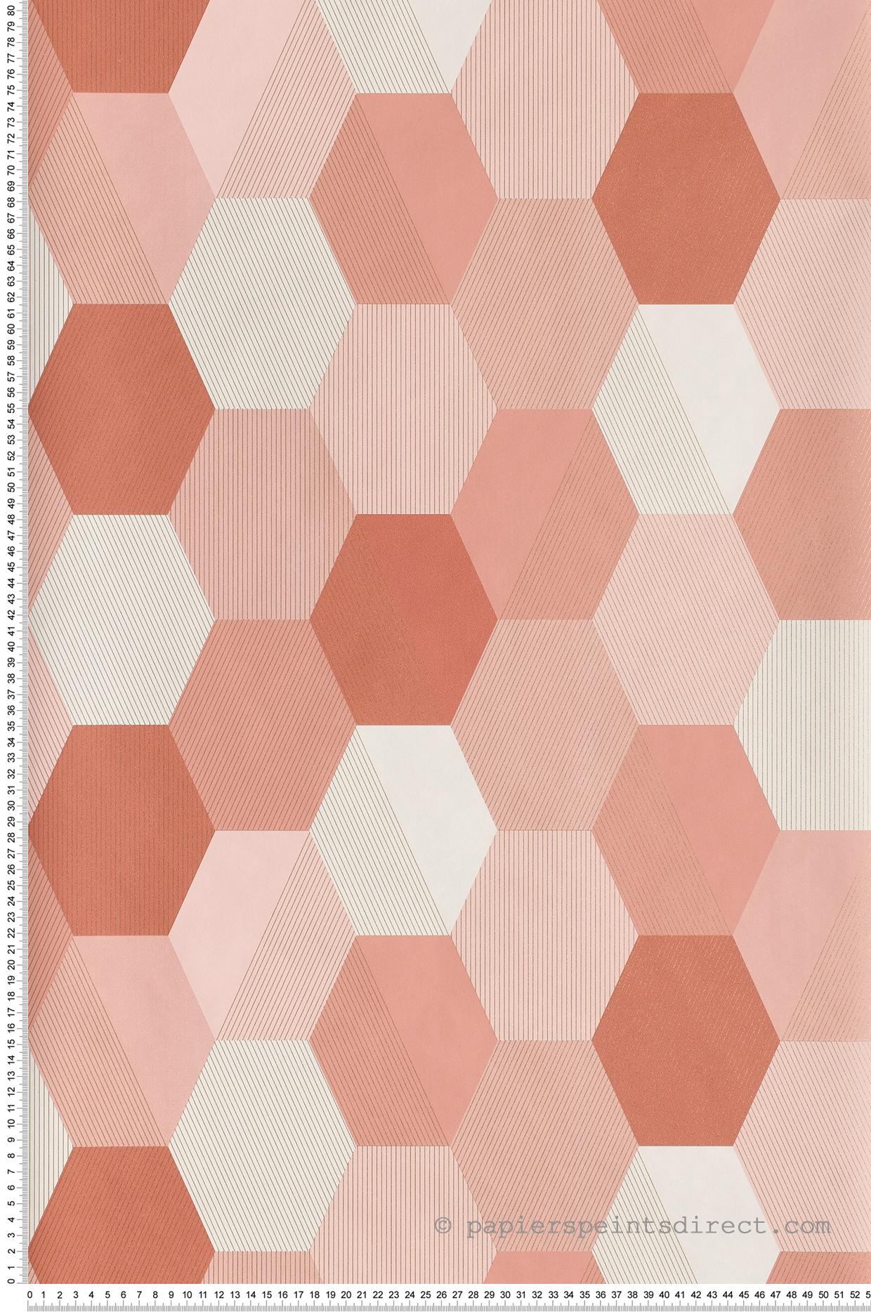 Papier peint Hexagon rose marsala - Spaces de Casélio | Réf. SPA100104144