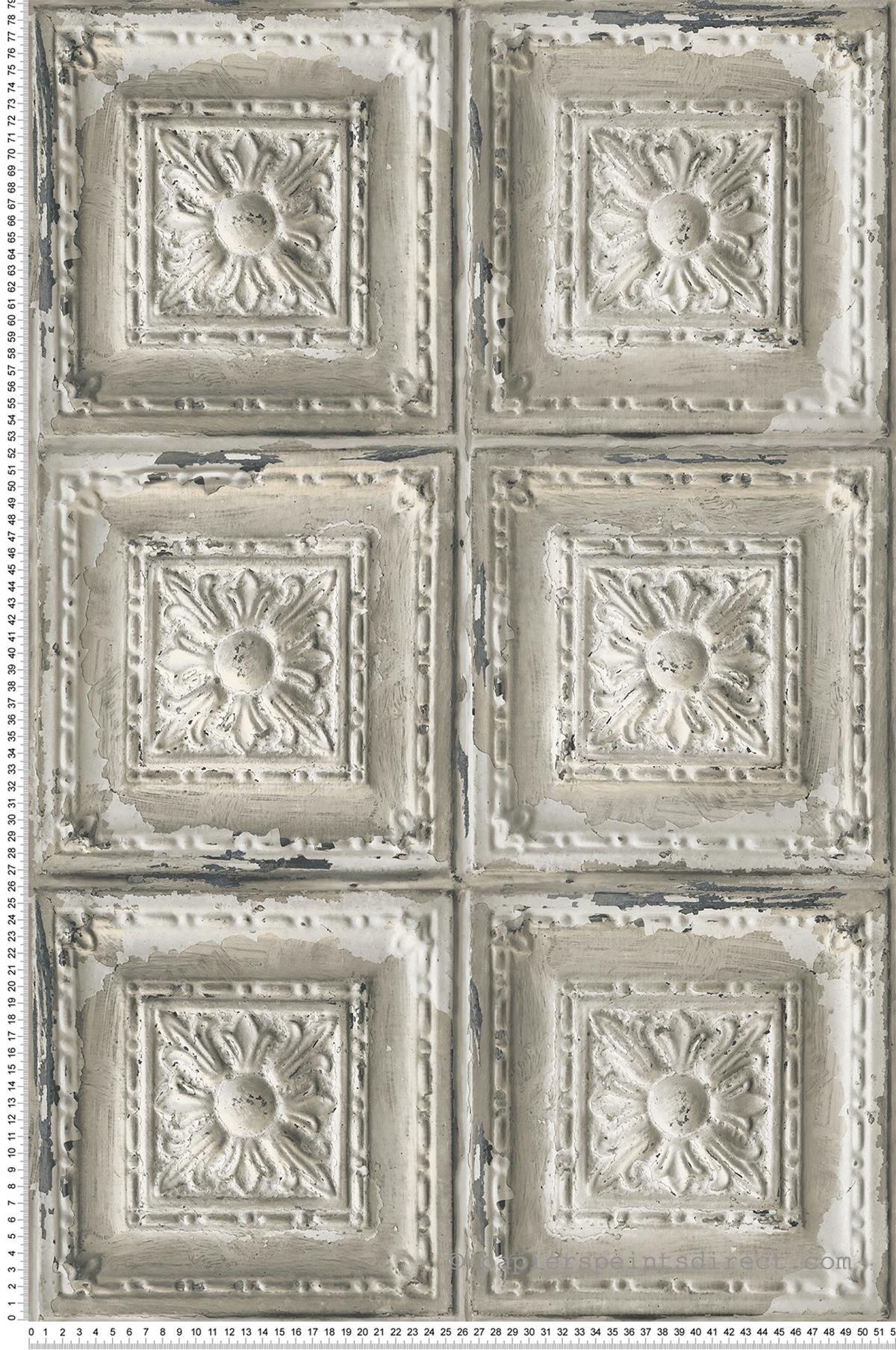 Papier Peint Trompe L Oeil Plafond papier peint dalle plafond grège - structure de lutèce | réf