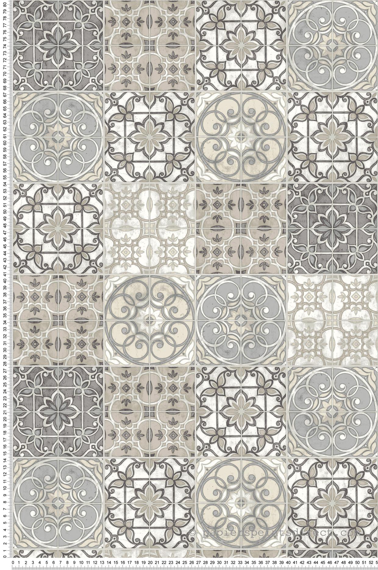 Tapisserie Carreaux De Ciment papier peint carreaux de ciment gris beige - style cuisine 3
