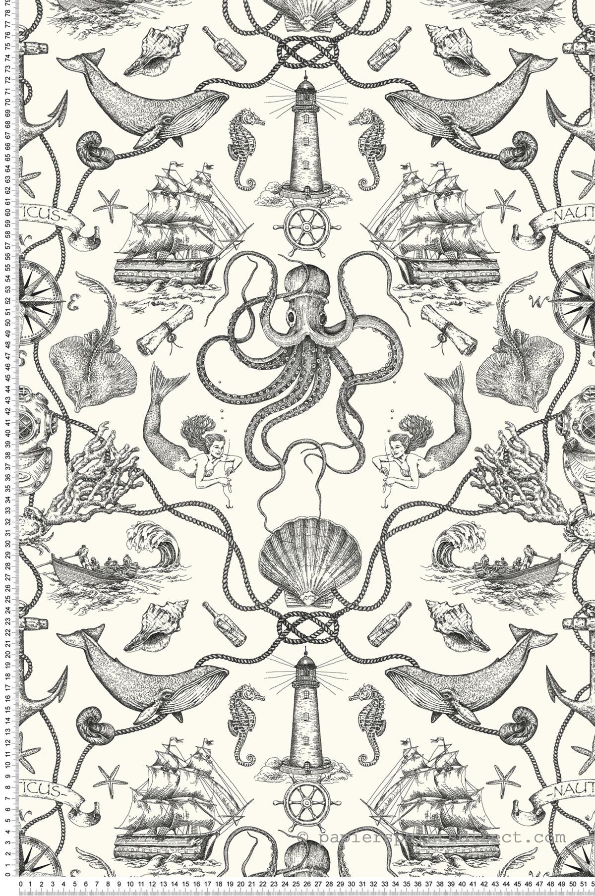 Papier peint Mer toile noir et blanc - Tailored de York (Initiales) | Réf. INI-HO3360