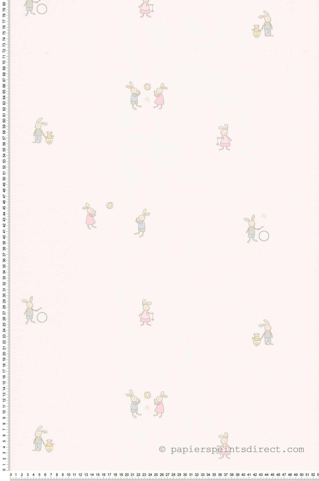 Papier Peint Augustin le lapin rose - Tartine et Chocolat de Lutèce  | Réf. LTC-36161703