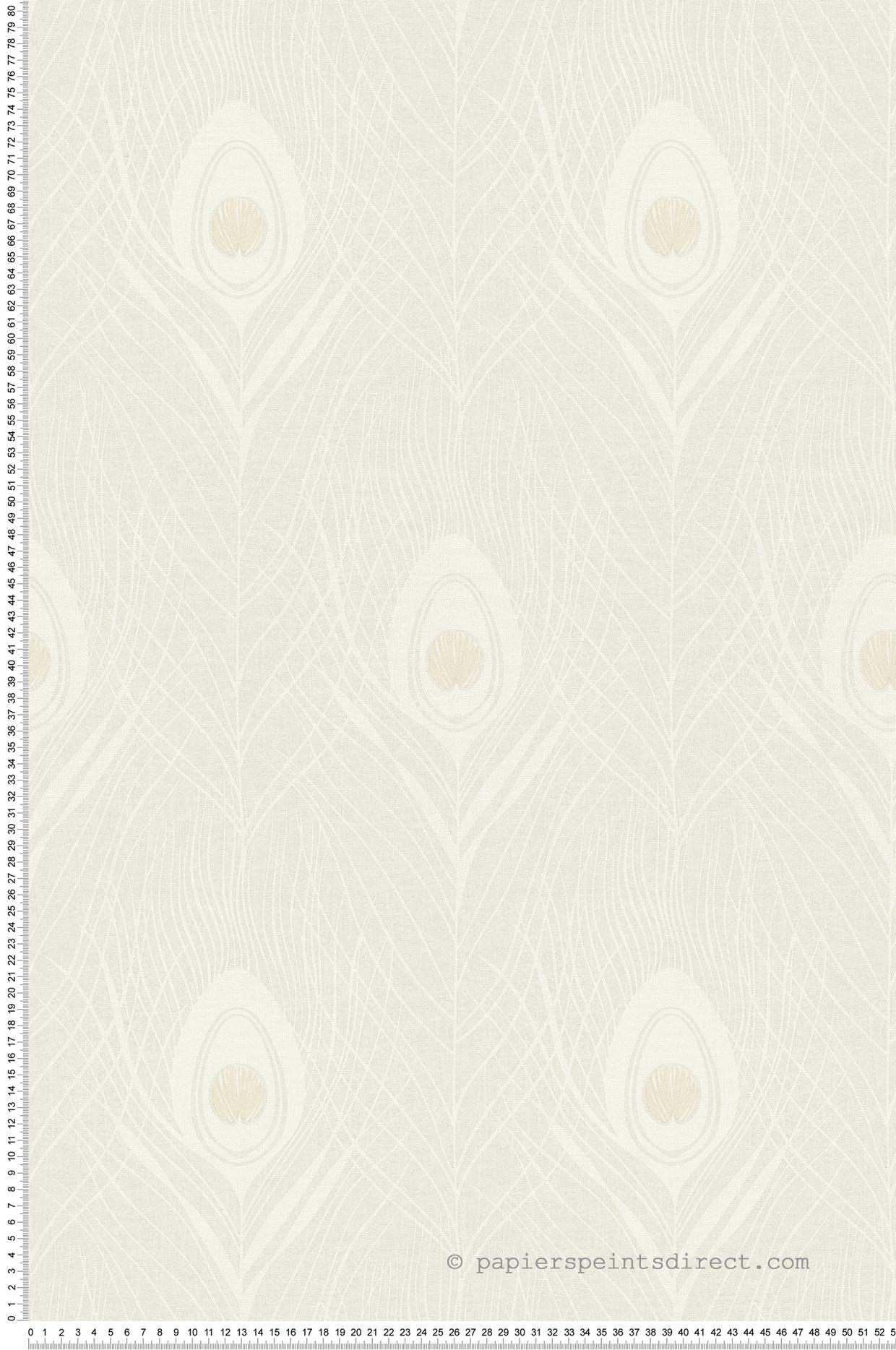 Papier Peint Art Deco Blanc papier peint plumes art déco rétro blanc/gris - tribeca de