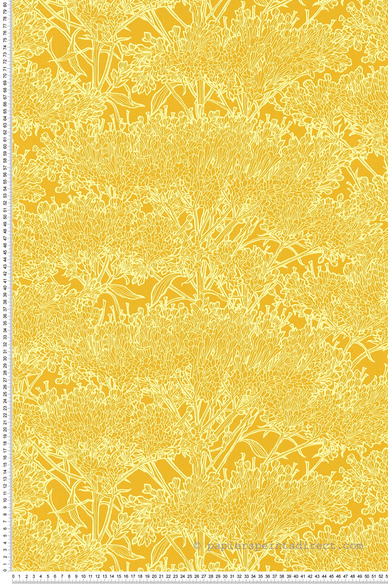 Papier Peint Jaune Moutarde papier peint fleurs graminées jaune moutarde - tribeca de