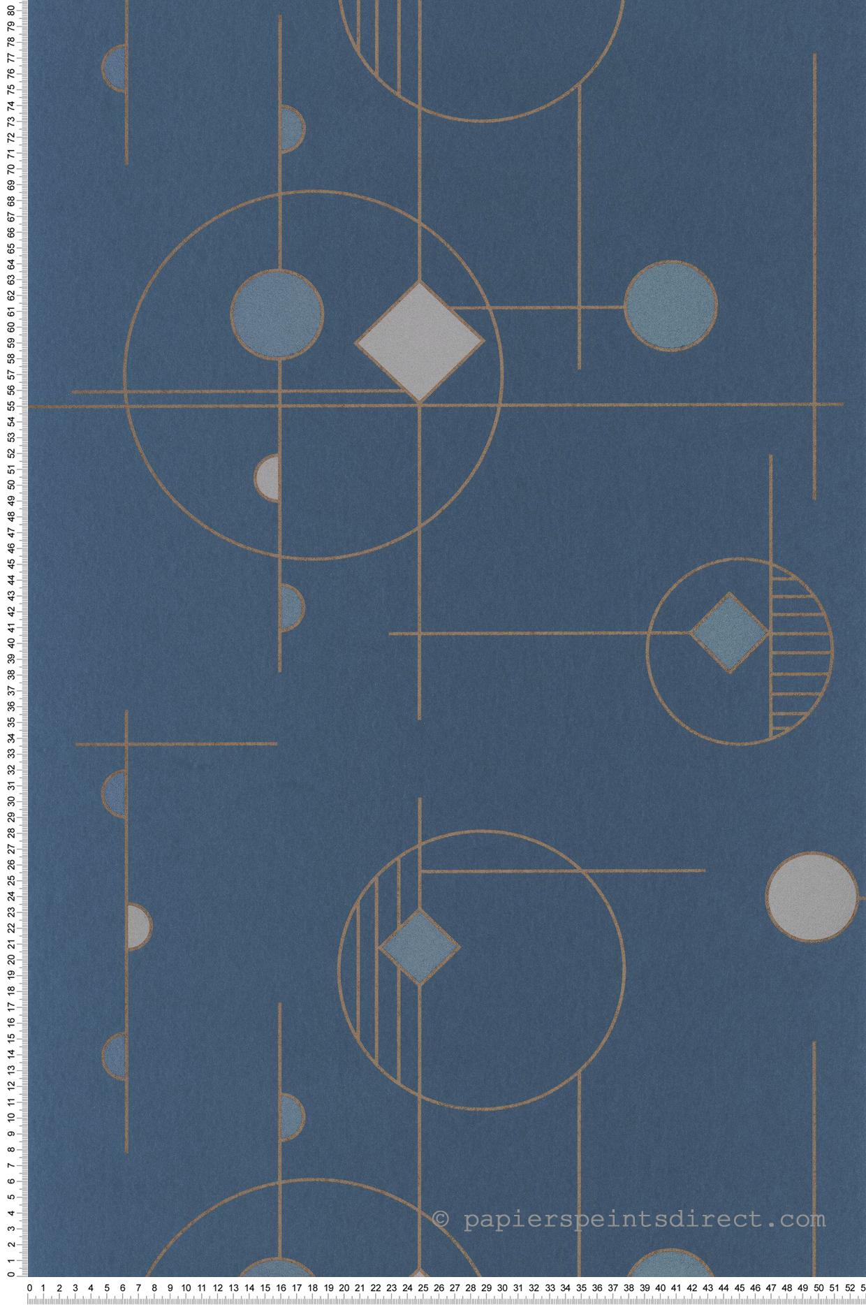 Papier peint géométrique Mobile bleu encre - Vision de Casadéco | Réf. VISI83666424