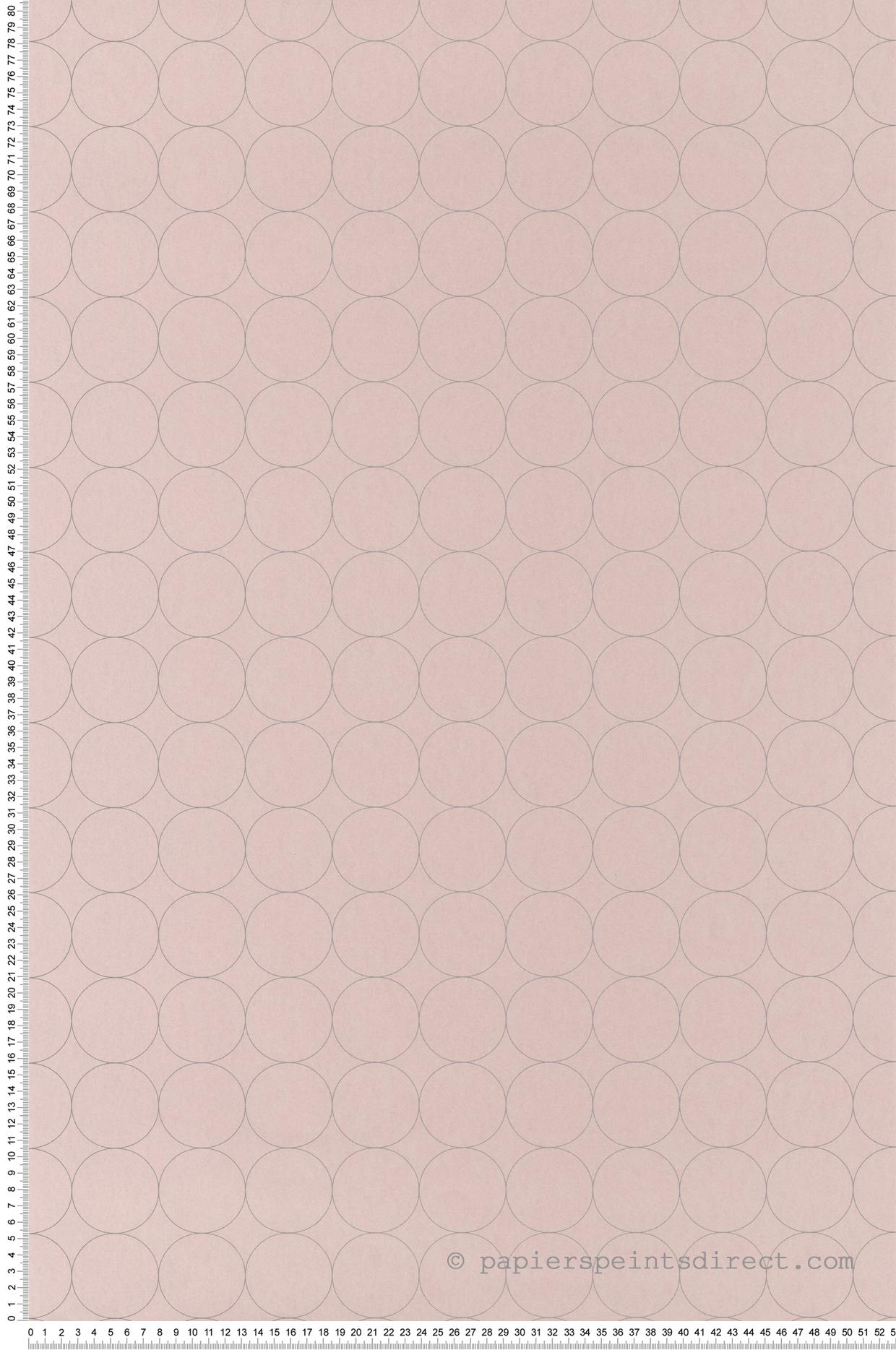 Papier peint scandinave Disques rose nude - Vision de Casadéco | Réf. VISI83684220