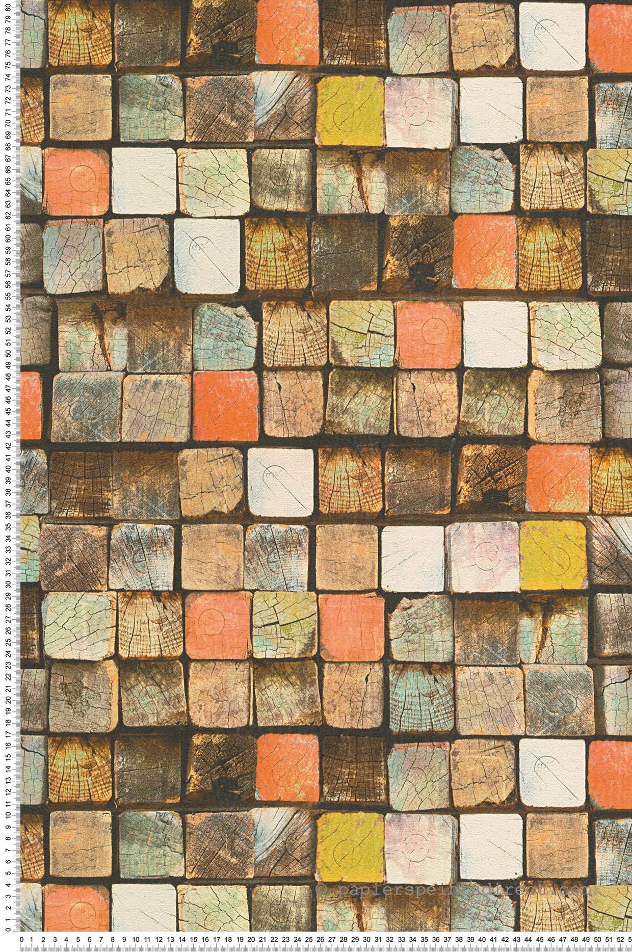 Papier peint Cubes de bois coloré - Wood N Stone 2 d'AS Création | Réf. SP04293