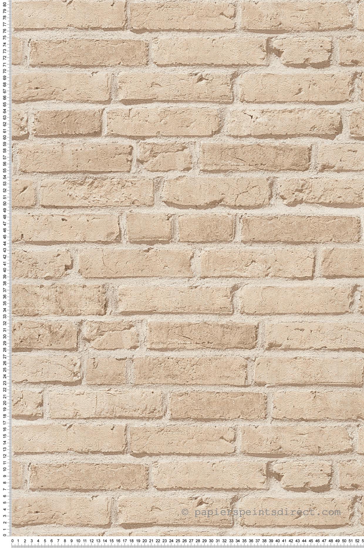 Chambre Ado Avec Papier Peint Brique papier peint briques beiges - wood n stone 2 d'as création
