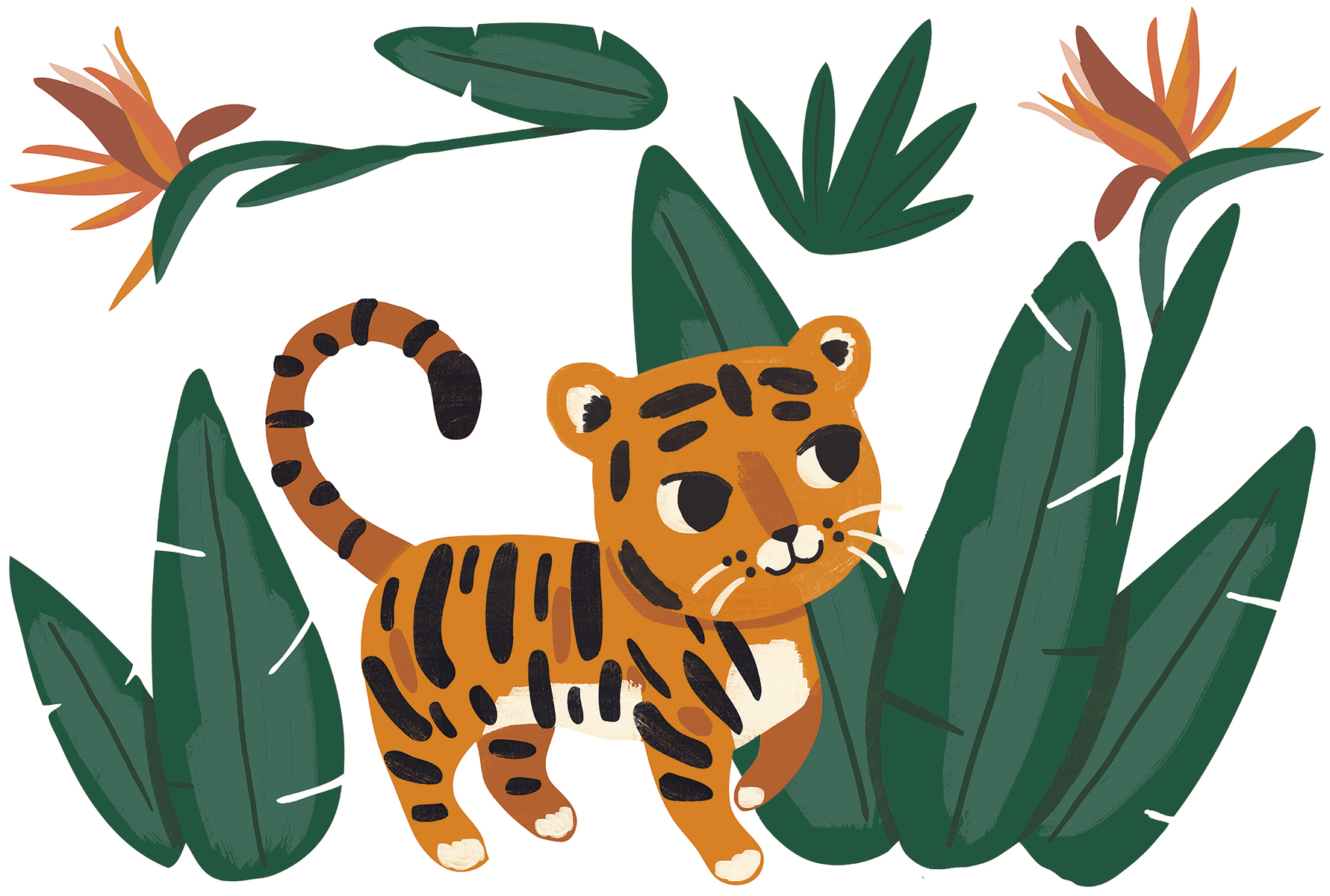 Sticker mural jungle Tigre et feuilles - Stickers enfant de Lilipinso | Réf. LILI-S1373