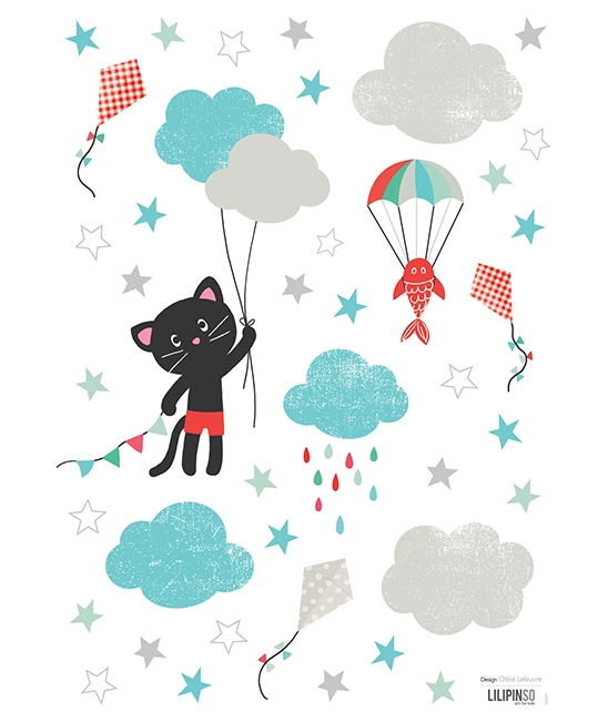 Stickers chat dans les nuages - Stickers de Lilipinso