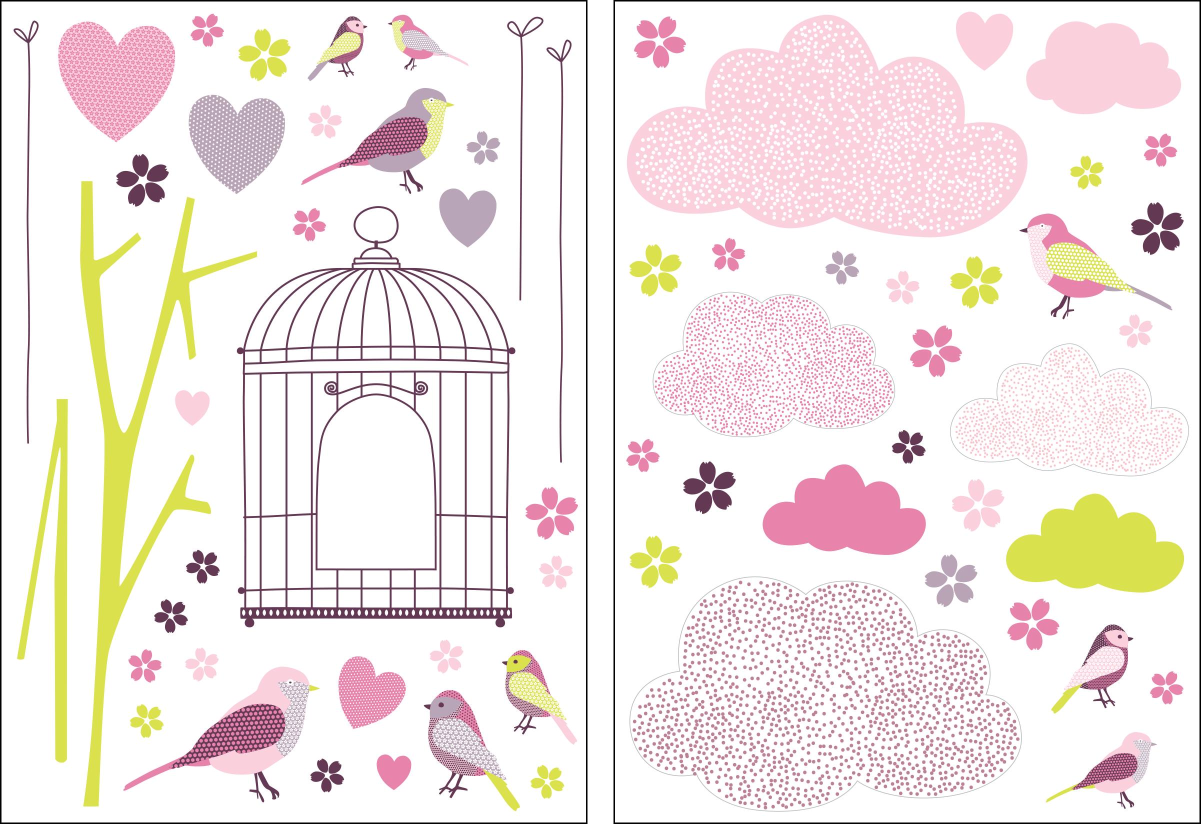 Stickers Printemps rose-violet-vert - Collection Sélène & Gaïa de Lutèce