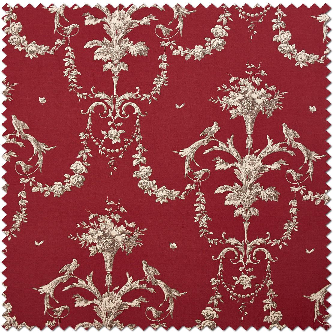 Tissu Corne d'abondance rouge - Collection Chantilly de Casadéco