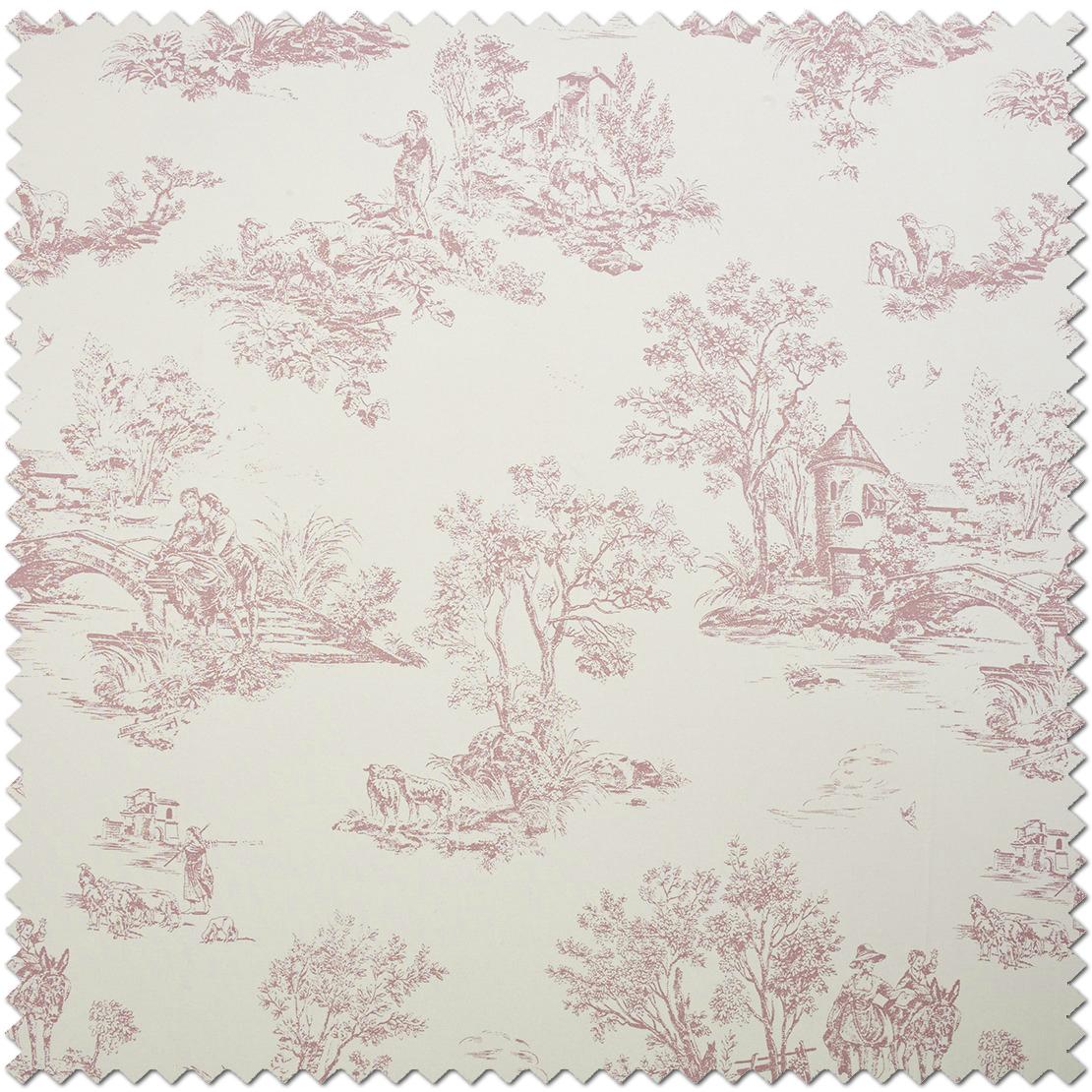Tissu Toile de jouy rose - Collection Chantilly de Casadéco