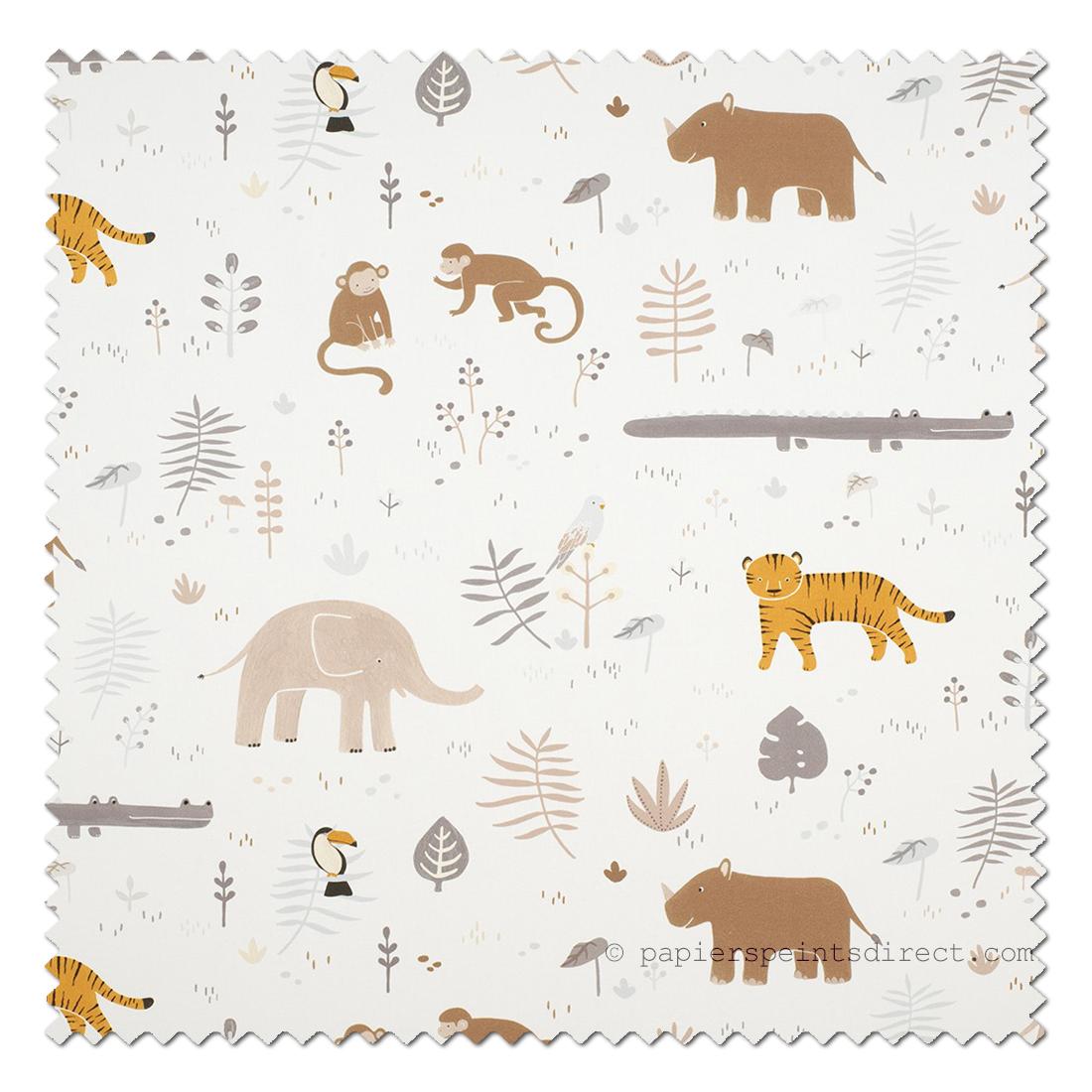 Tissu enfant Animaux jungle beige bleu - Happy Dreams de Casadéco   Réf. HPDM83281224